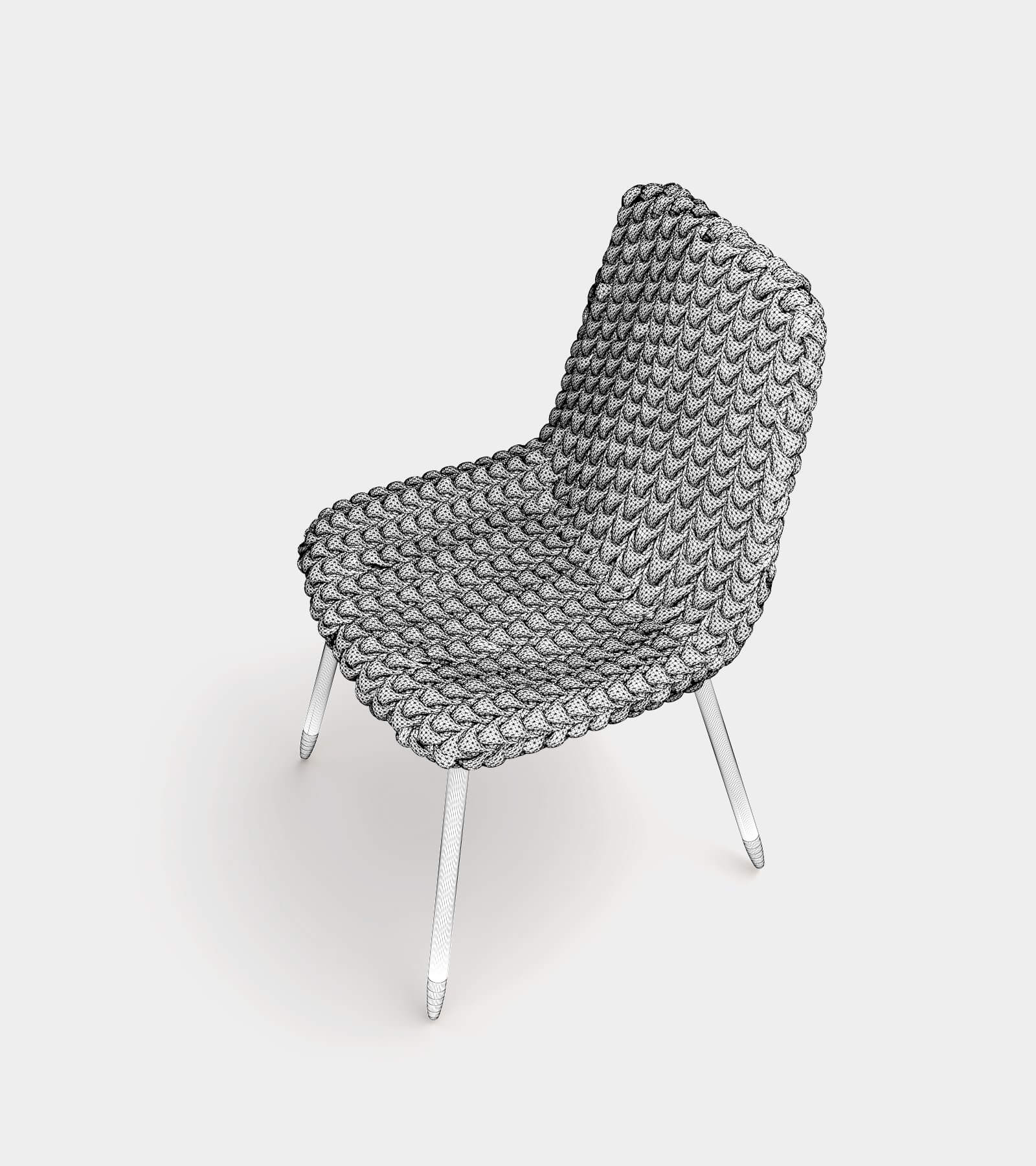 Fabric dining chair-2-wire - 3D Model