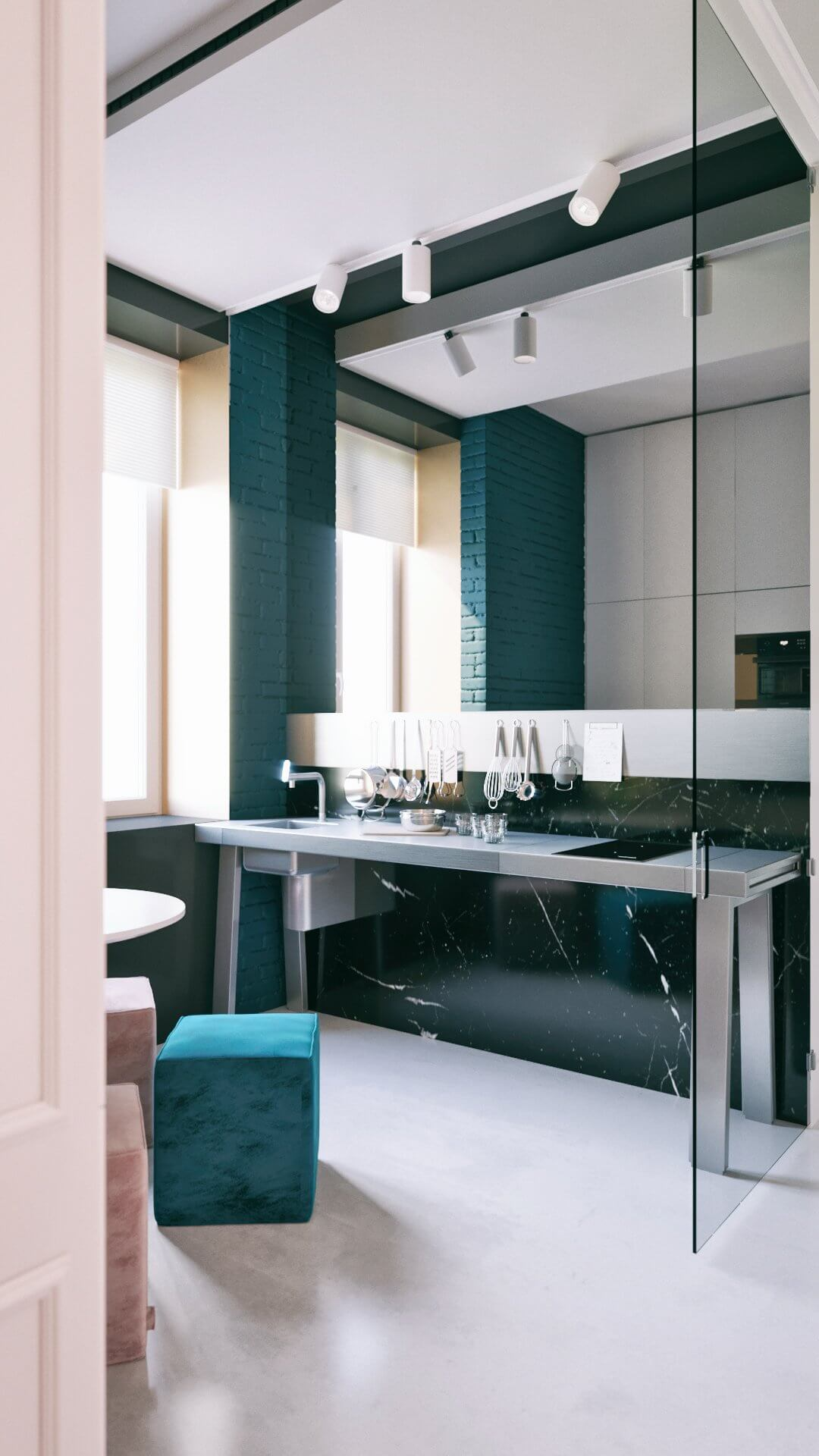 Apartment in Kiev kitchen stainless steel top - cgi visualization