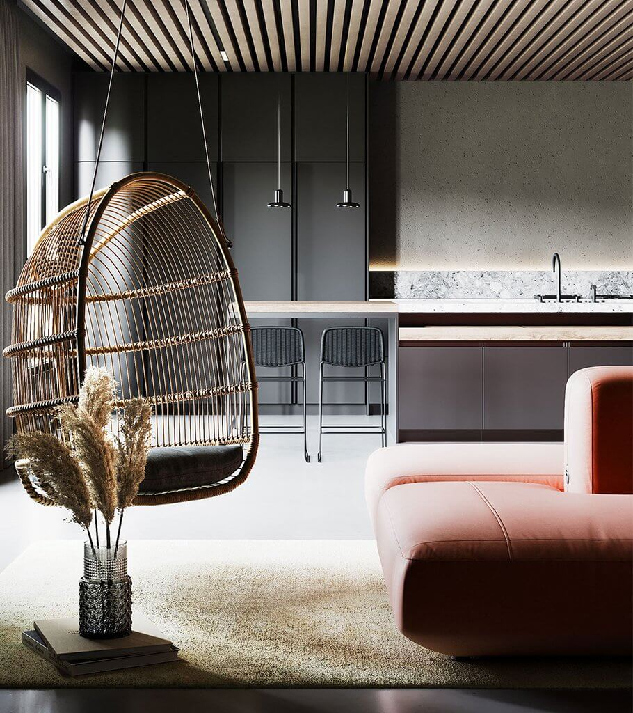 Cozy-Apartment-design-living-room-hanging-chair-kitchen-header-cgi-visualization