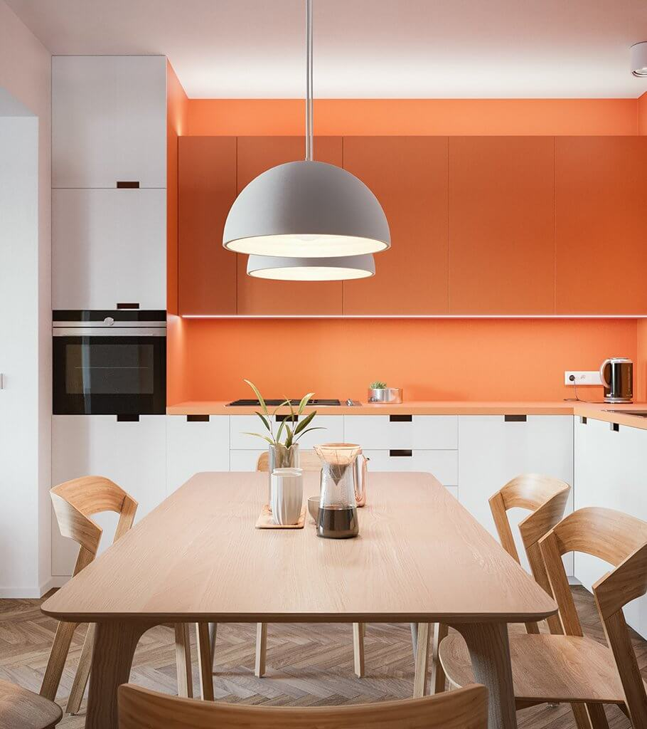Flat Niche kitchen orange back wood table modern header - cgi visualization
