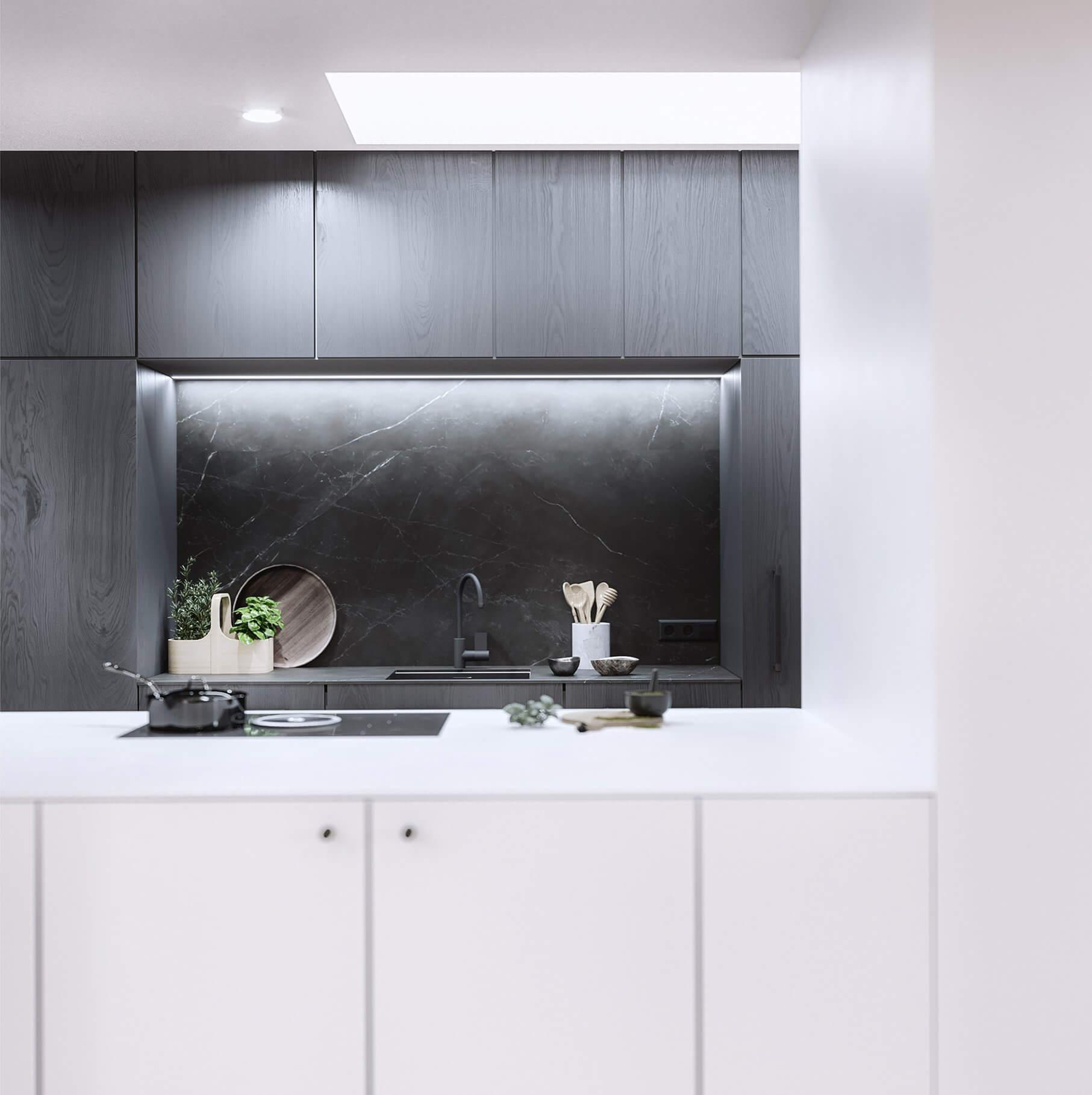Mánesova Designer Apartment black white kitchen stone top - cgi visualization