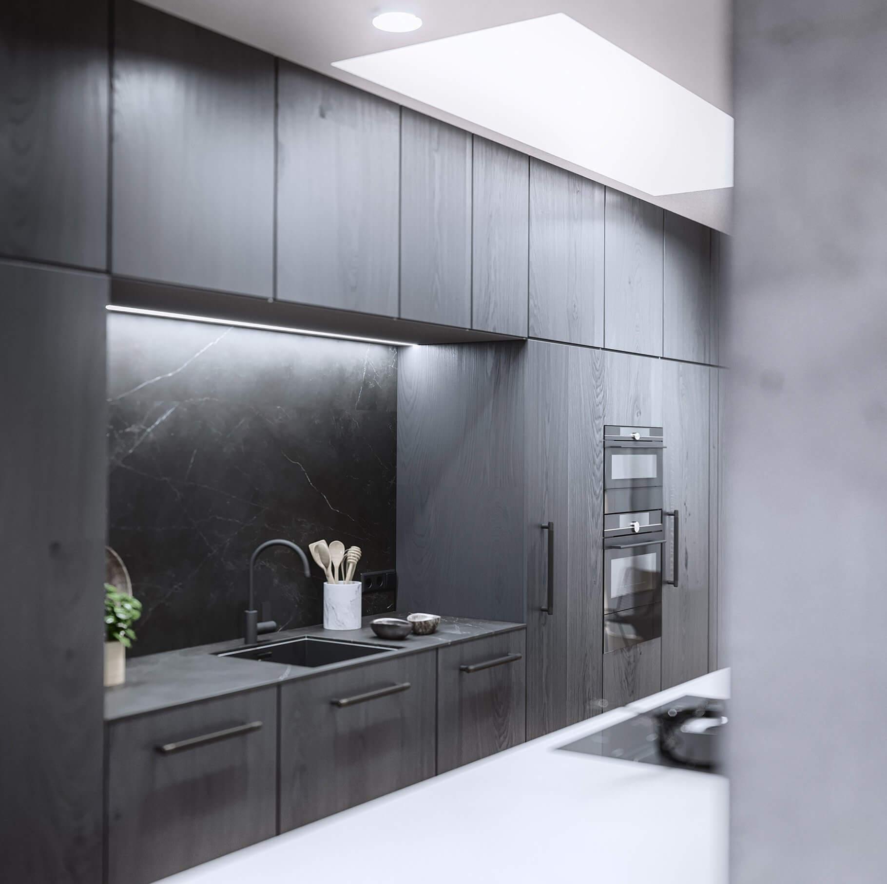 Mánesova Designer Apartment black wood kitchen stone top - cgi visualization