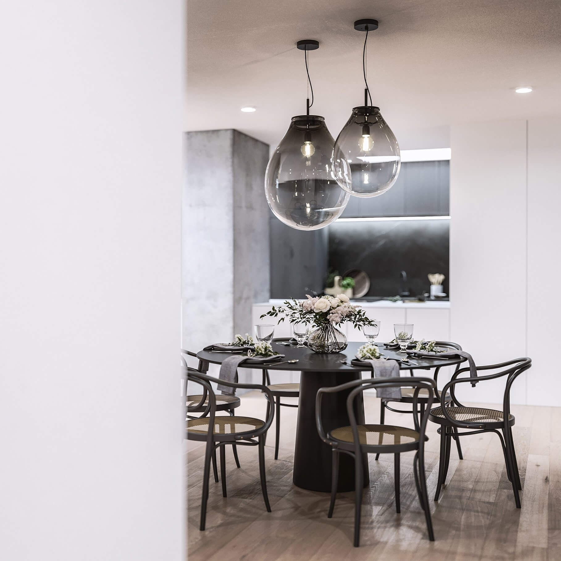 Mánesova Designer Apartment classic dinning room glass bulp pendant lamps - cgi visualization