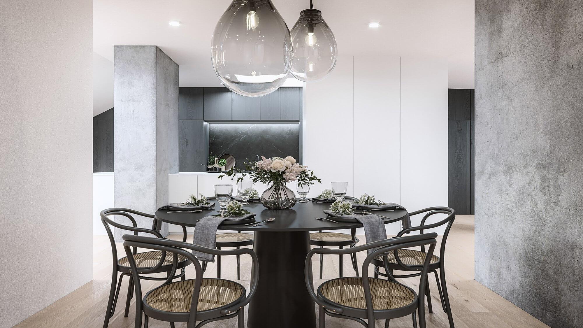 Mánesova Designer Apartment dinning room classic round wood table - cgi visualization