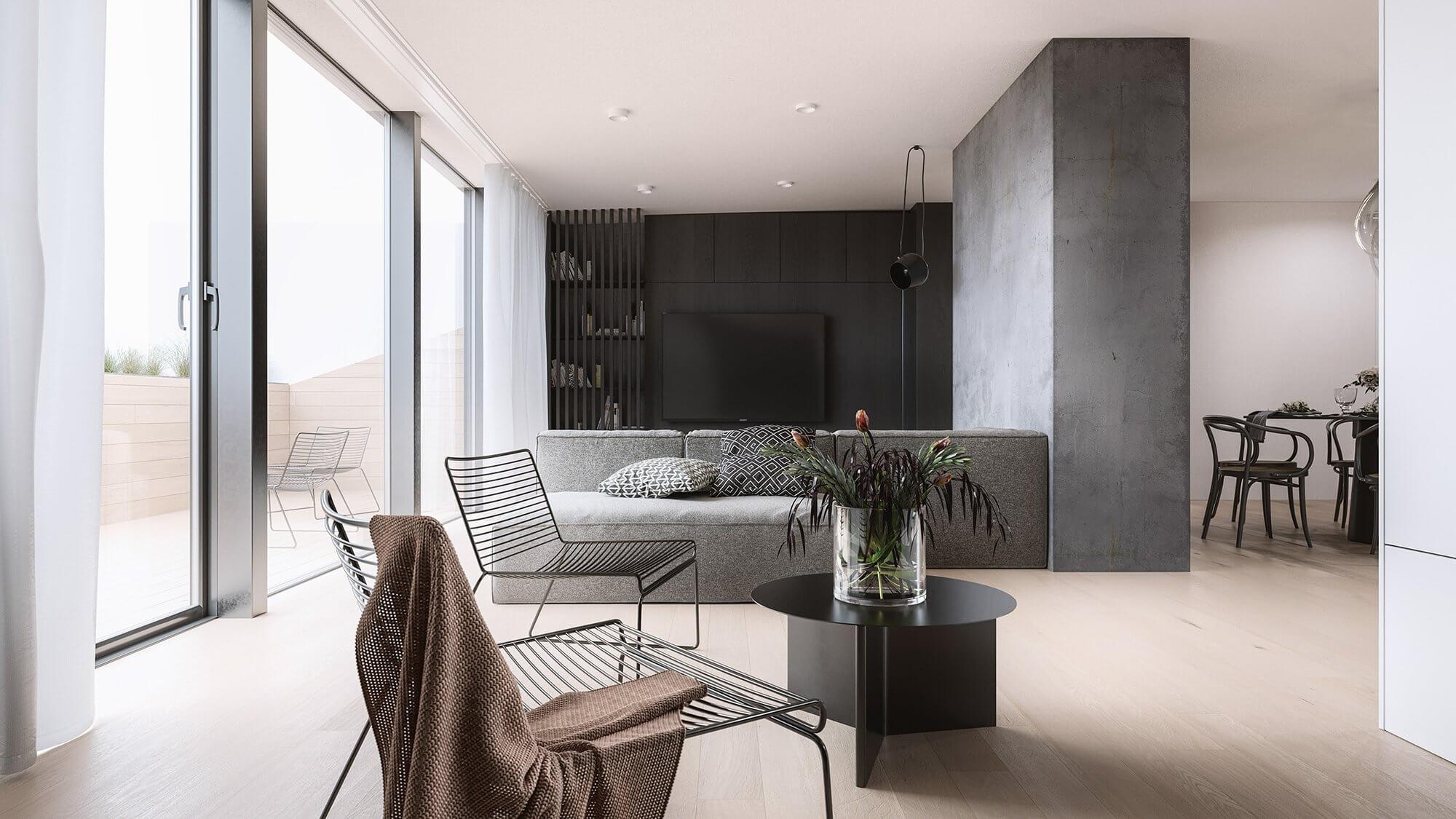 Mánesova Designer Apartment lounge area living room - cgi visualization