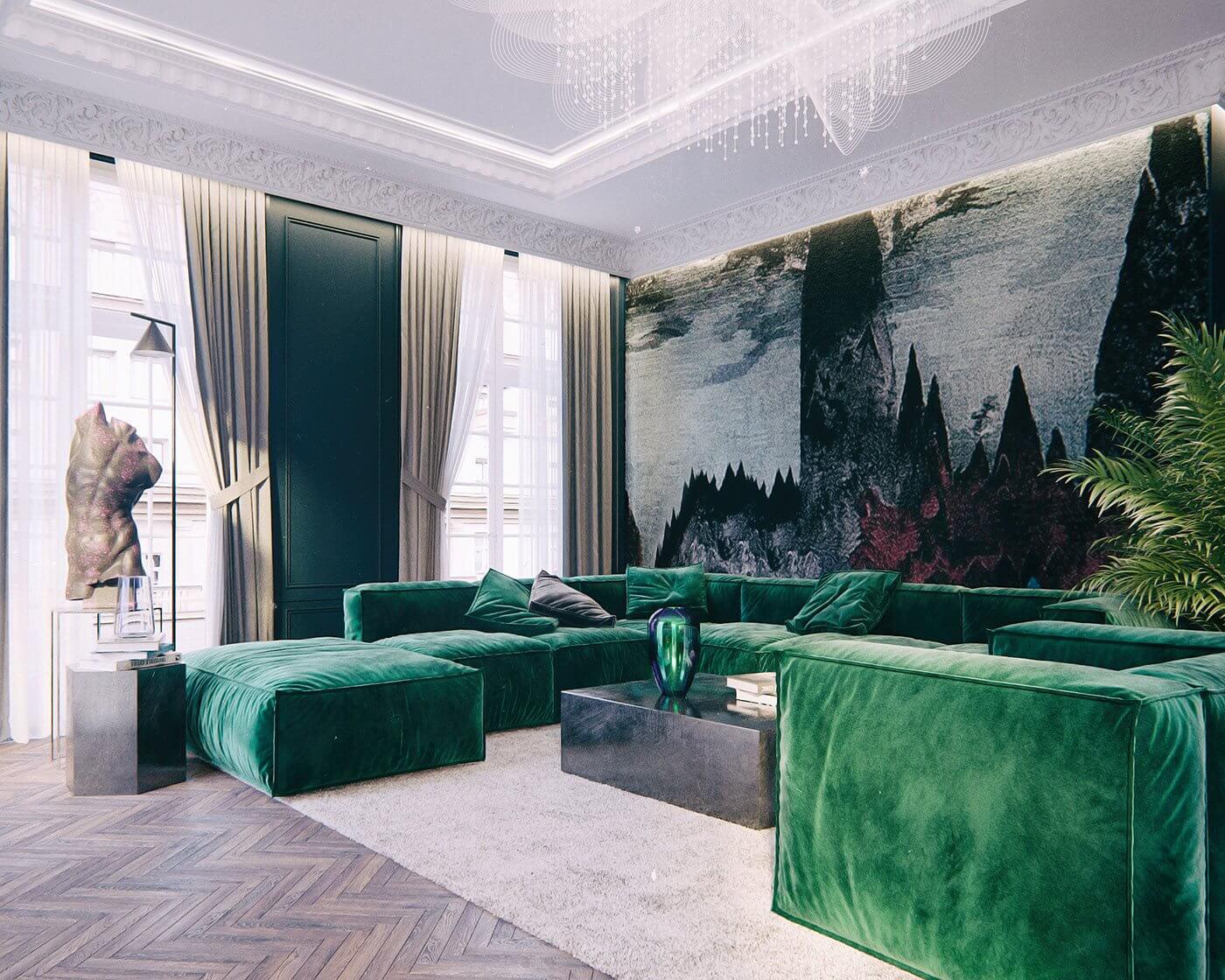 Maison Noire Apartment Paris couch green sculpture bronze living room - cgi visualization
