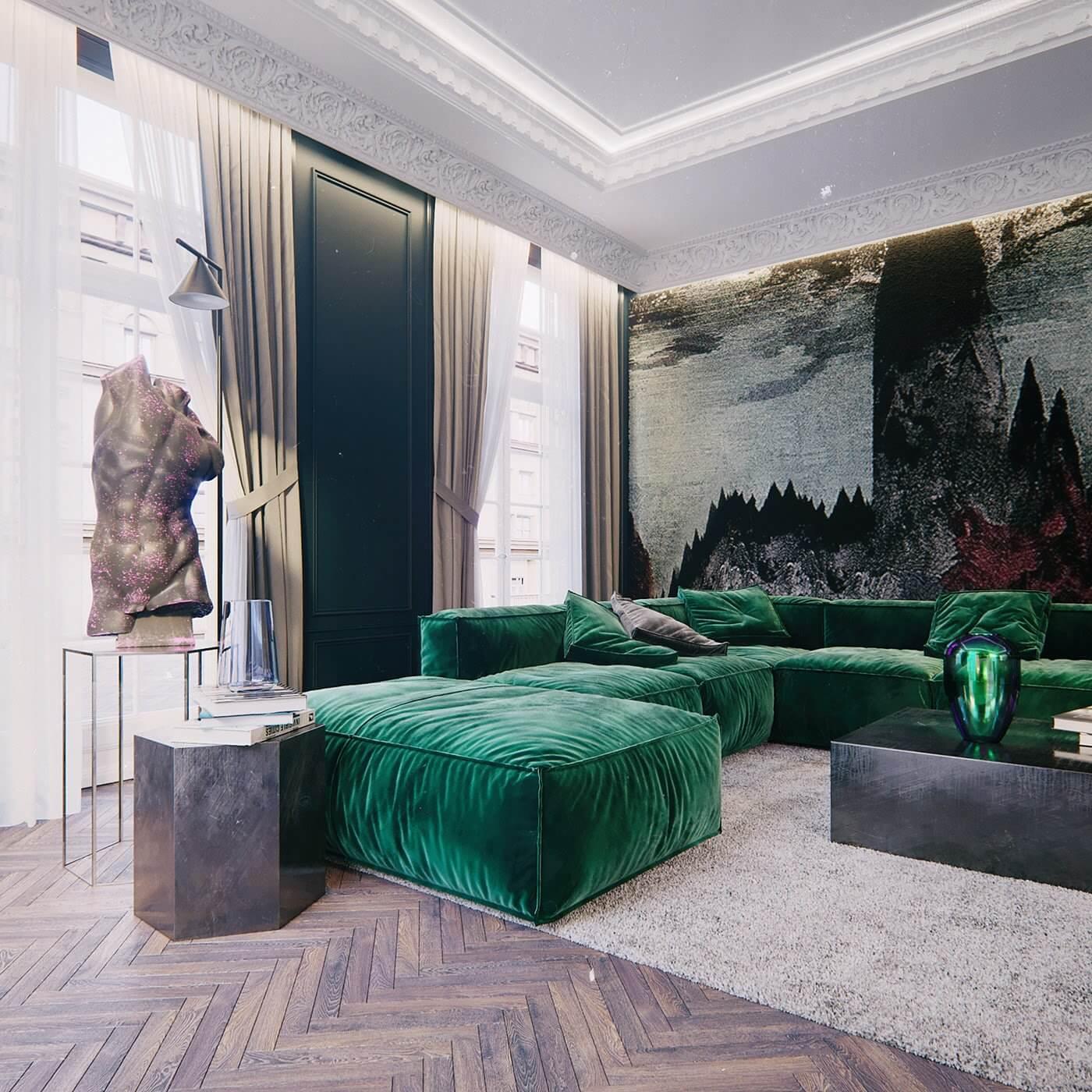 Maison Noire Apartment Paris couch living room - cgi visualization
