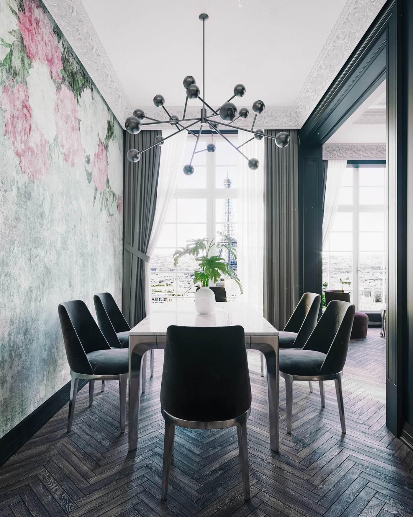 Maison Noire Apartment Paris dining room - cgi visualization