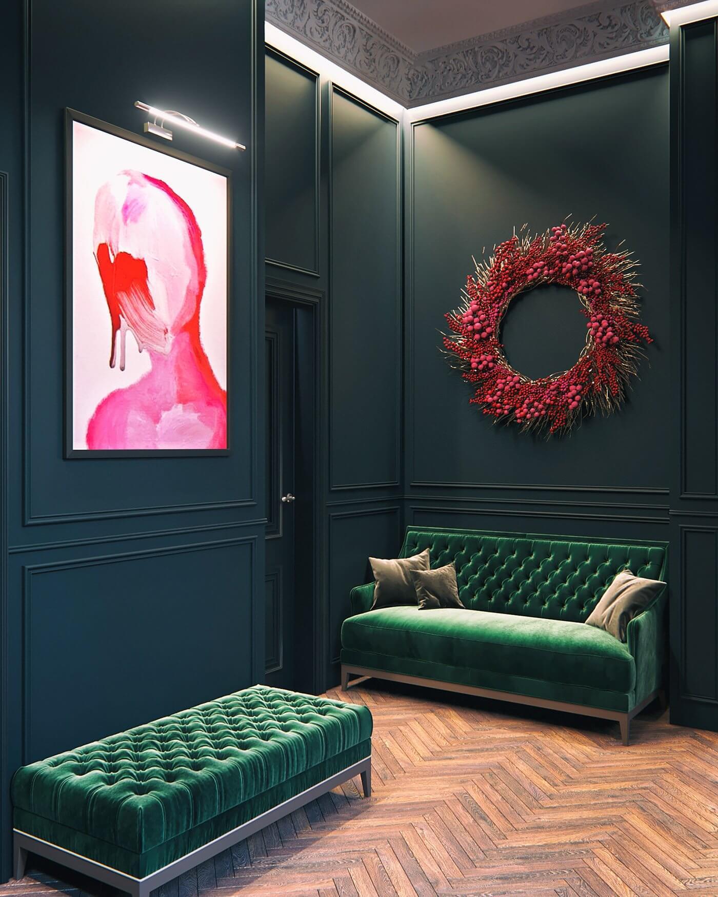 Maison Noire Apartment Paris entrance area - cgi visualization