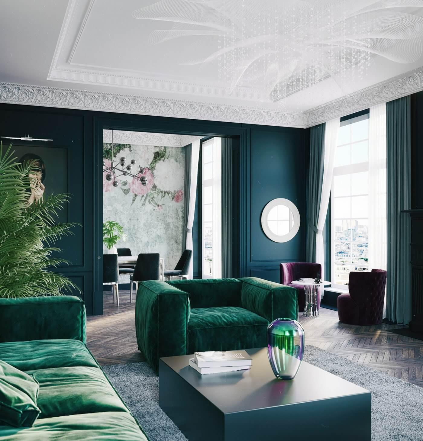 Maison Noire Apartment Paris living room lounge area - cgi visualization