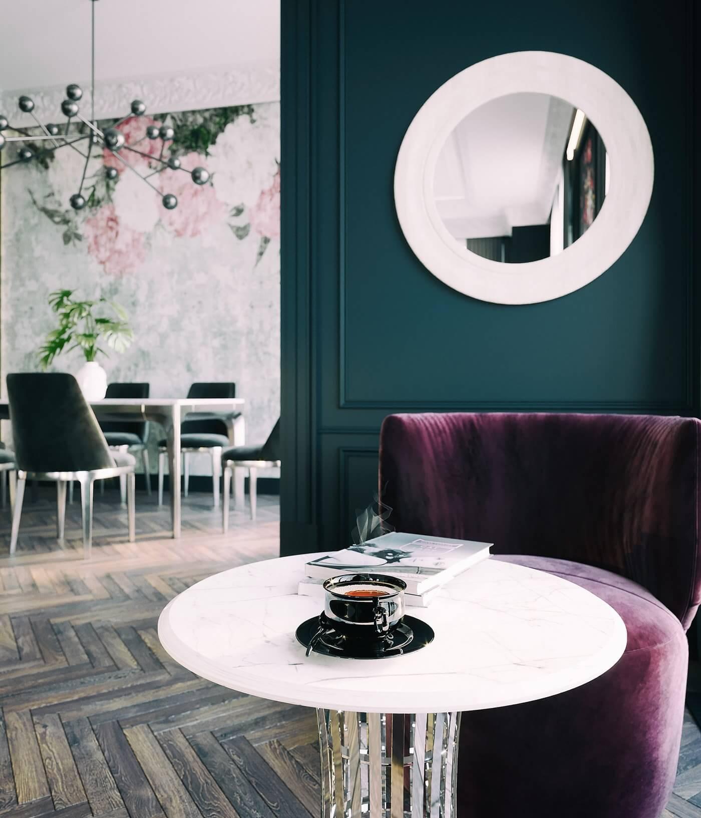 Maison Noire Apartment Paris lounge area red seater - cgi visualization
