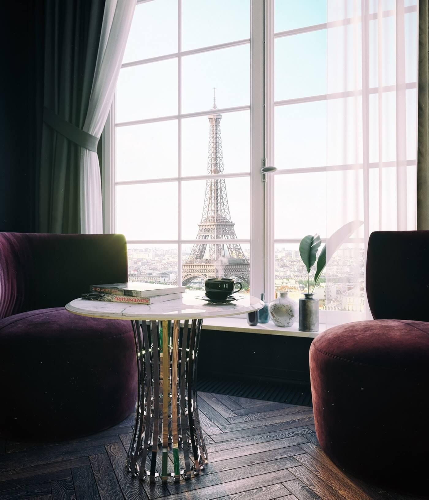 Maison Noire Apartment Paris lounge area side table marble - cgi visualization