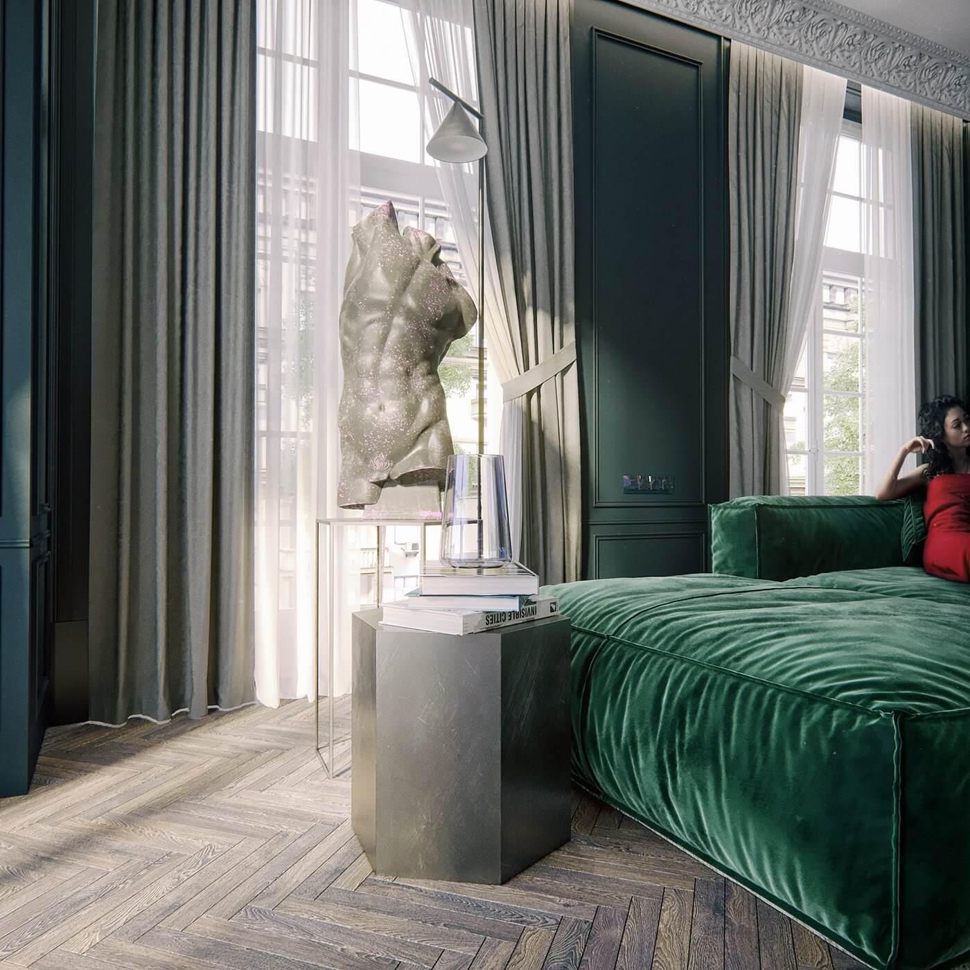 Maison Noire Apartment Paris sculpture living room - cgi visualization