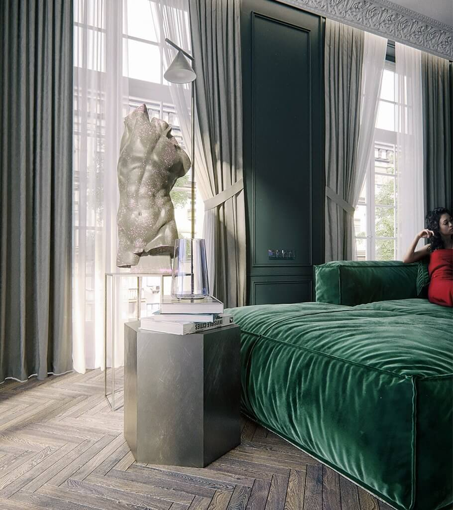 Maison Noire Apartment Paris sculpture living room header - cgi visualization