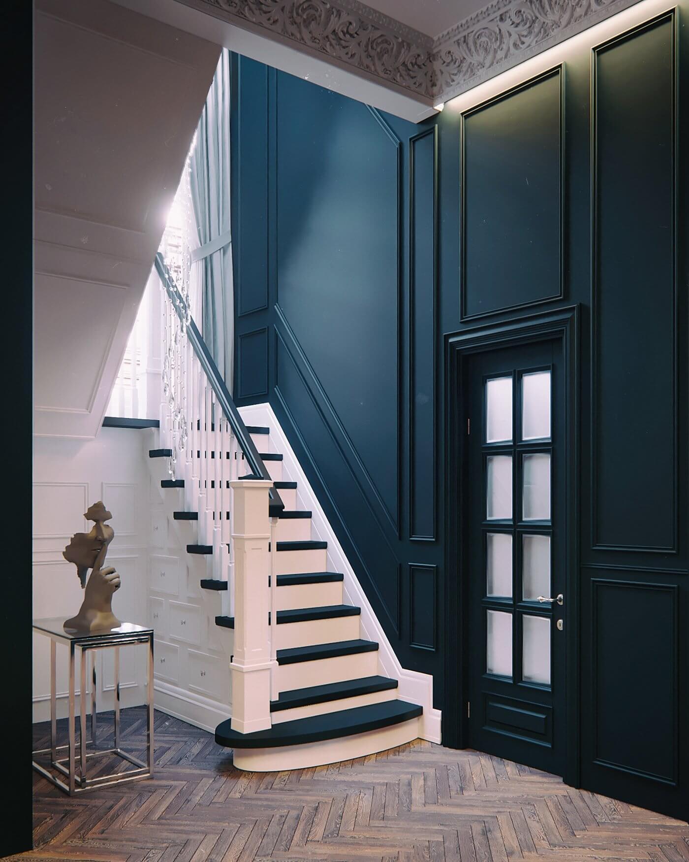 Maison Noire Apartment Paris stairway - cgi visualization