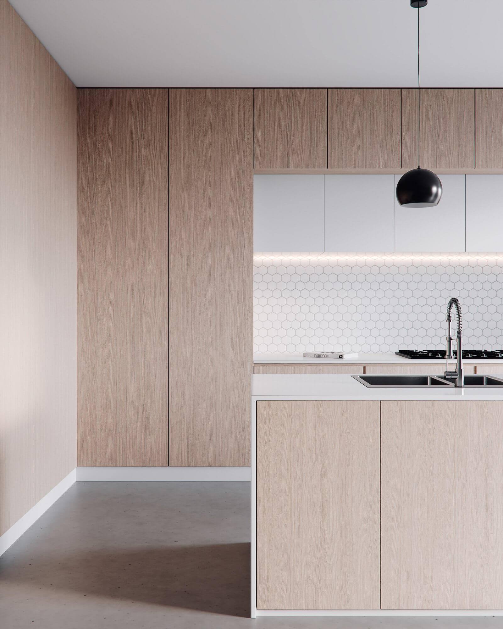 Minimalistic kitchen design wood white 2 - cgi visualisation