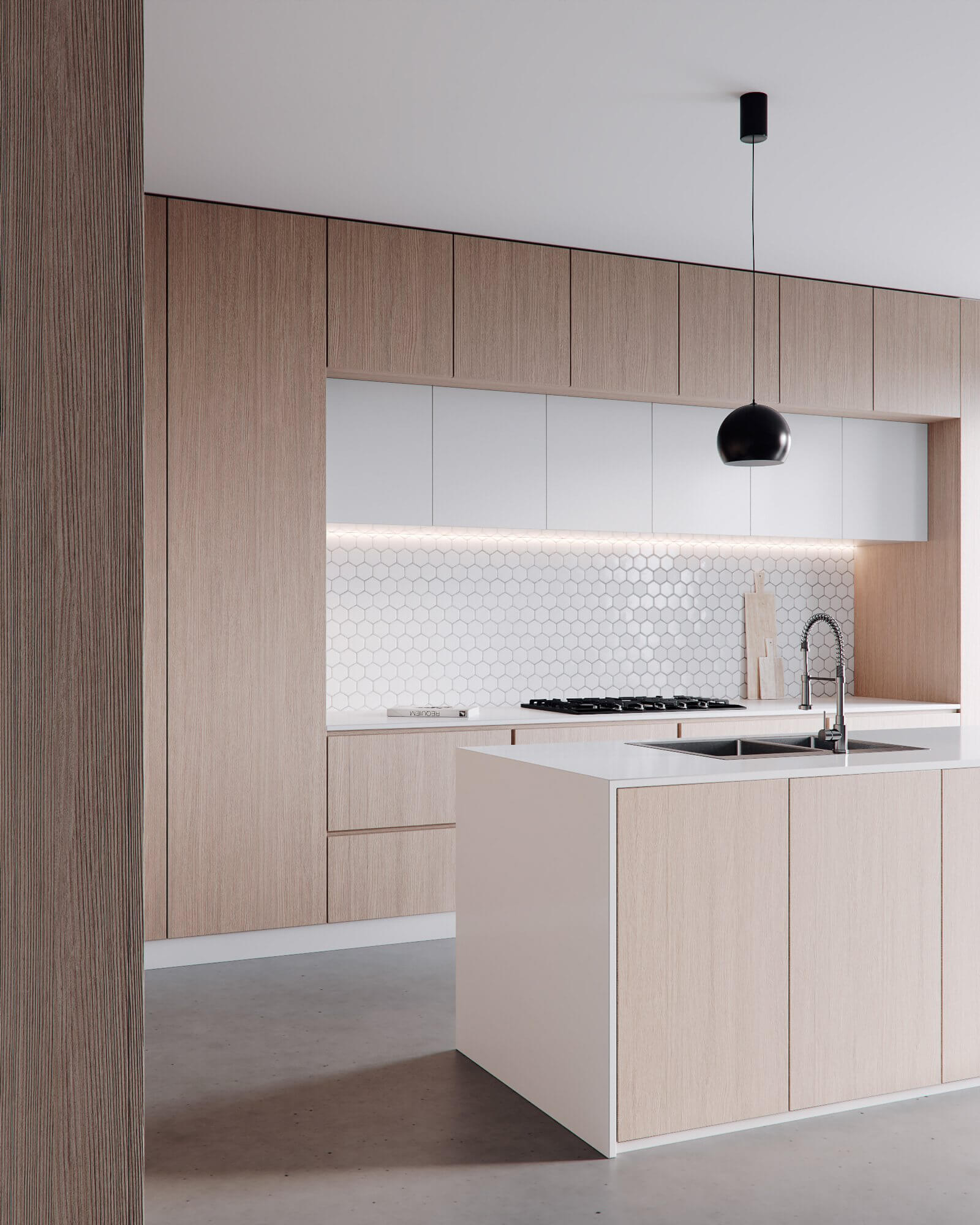 Minimalistic kitchen design wood white - cgi visualisation