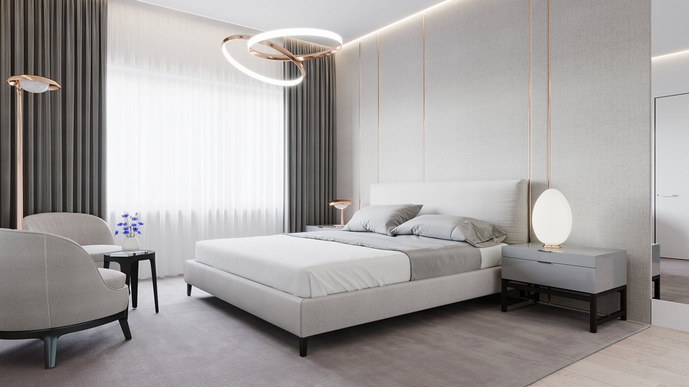 Modern Bedroom interior bed - cgi visualization