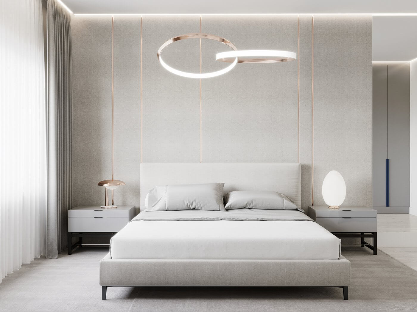 Modern Bedroom interior bed copper pendant lamps - cgi visualization