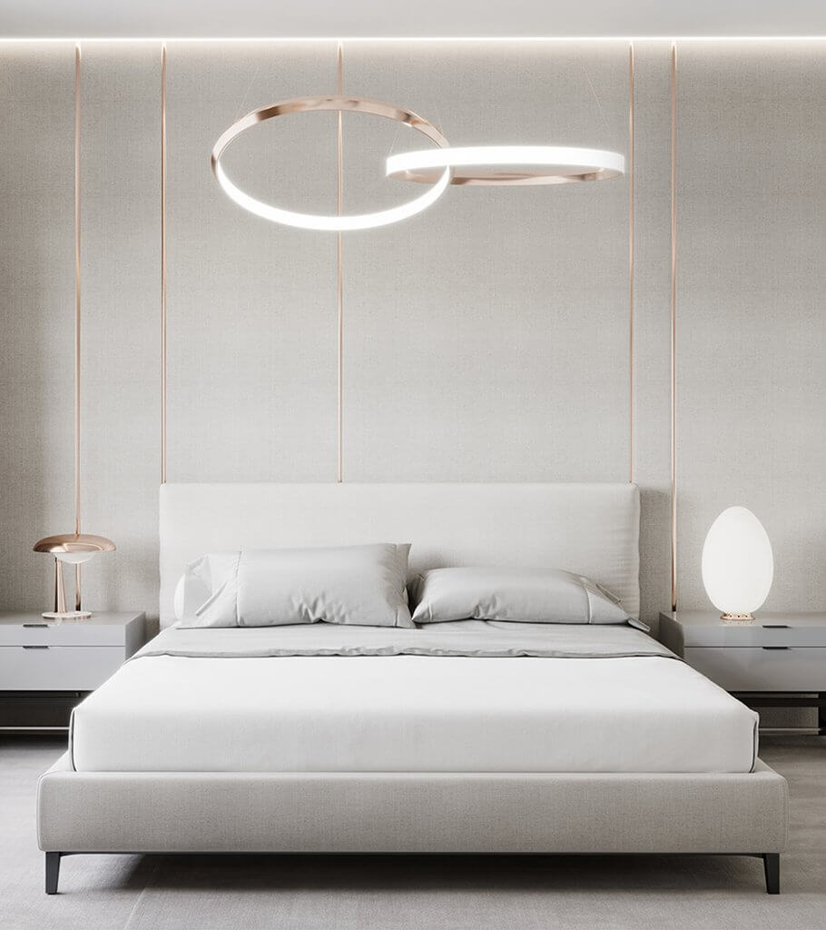 Modern Bedroom interior bed copper pendant lamps header - cgi visualization