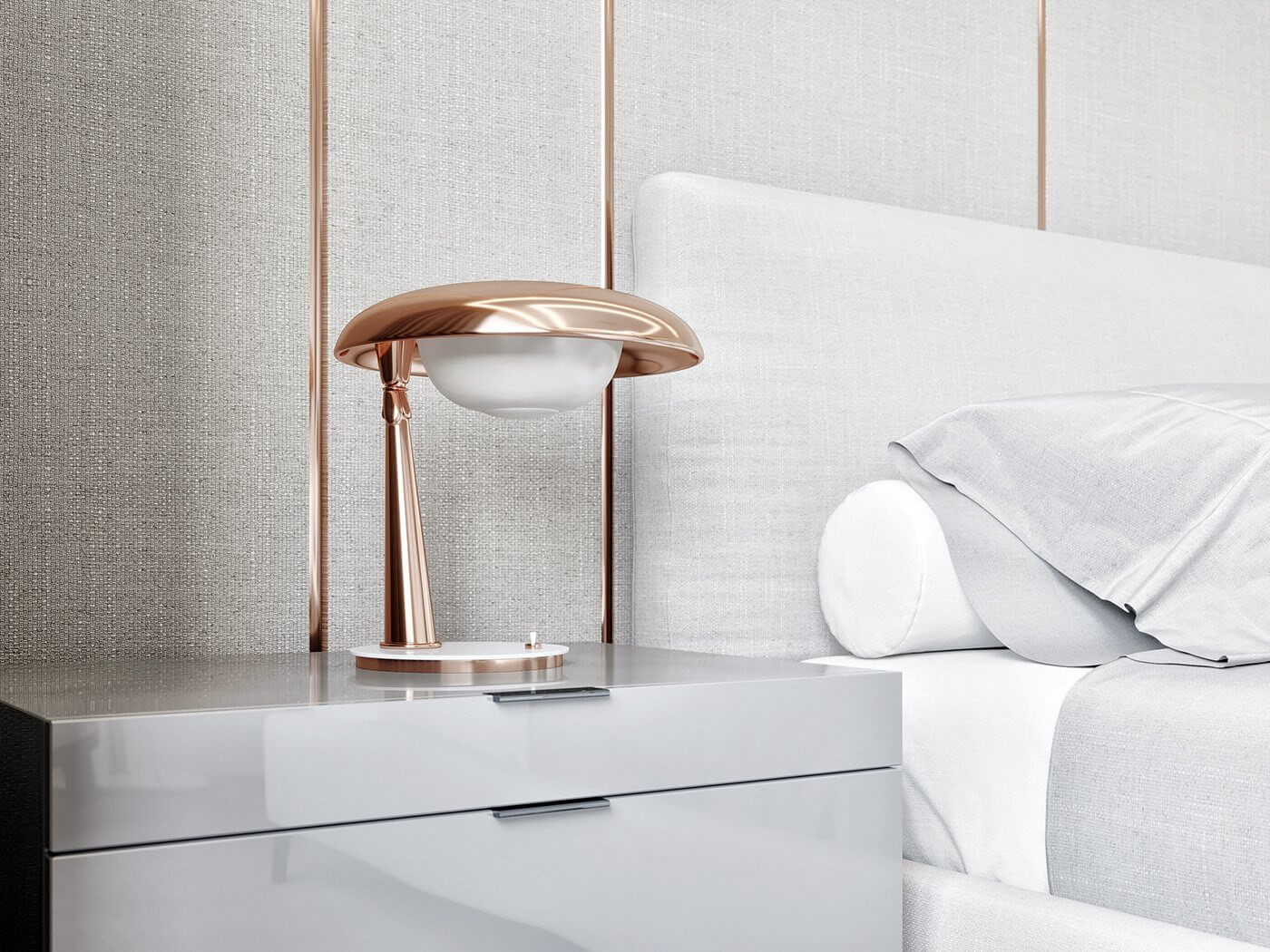 Modern Bedroom interior bed copper table lamps - cgi visualization