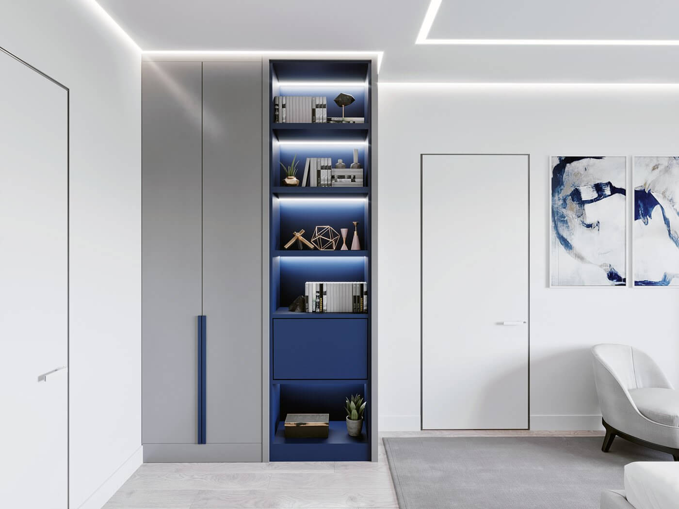 Modern Bedroom interior bookshelf blue back - cgi visualization