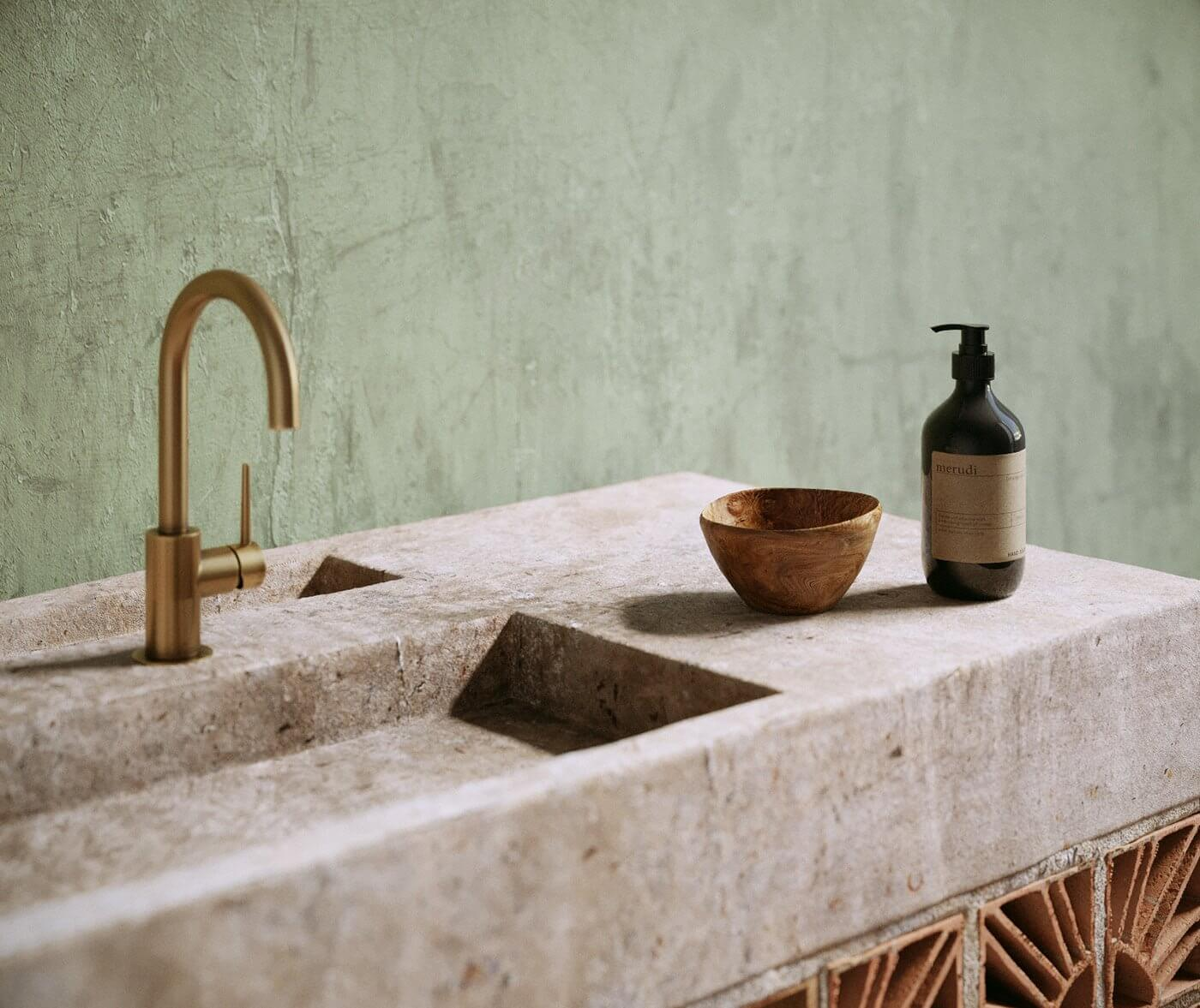 Softrime Bathroom Design stone wash basin detail - cgi visualization