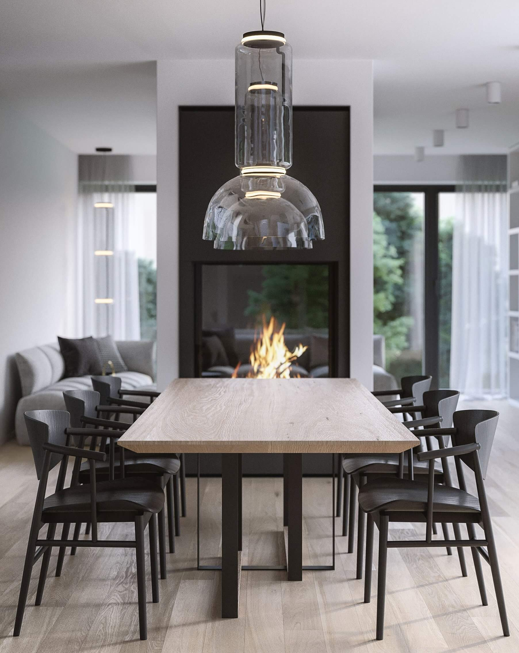 Suprematic Simplicity Apartment dining room fire place - cgi visualization