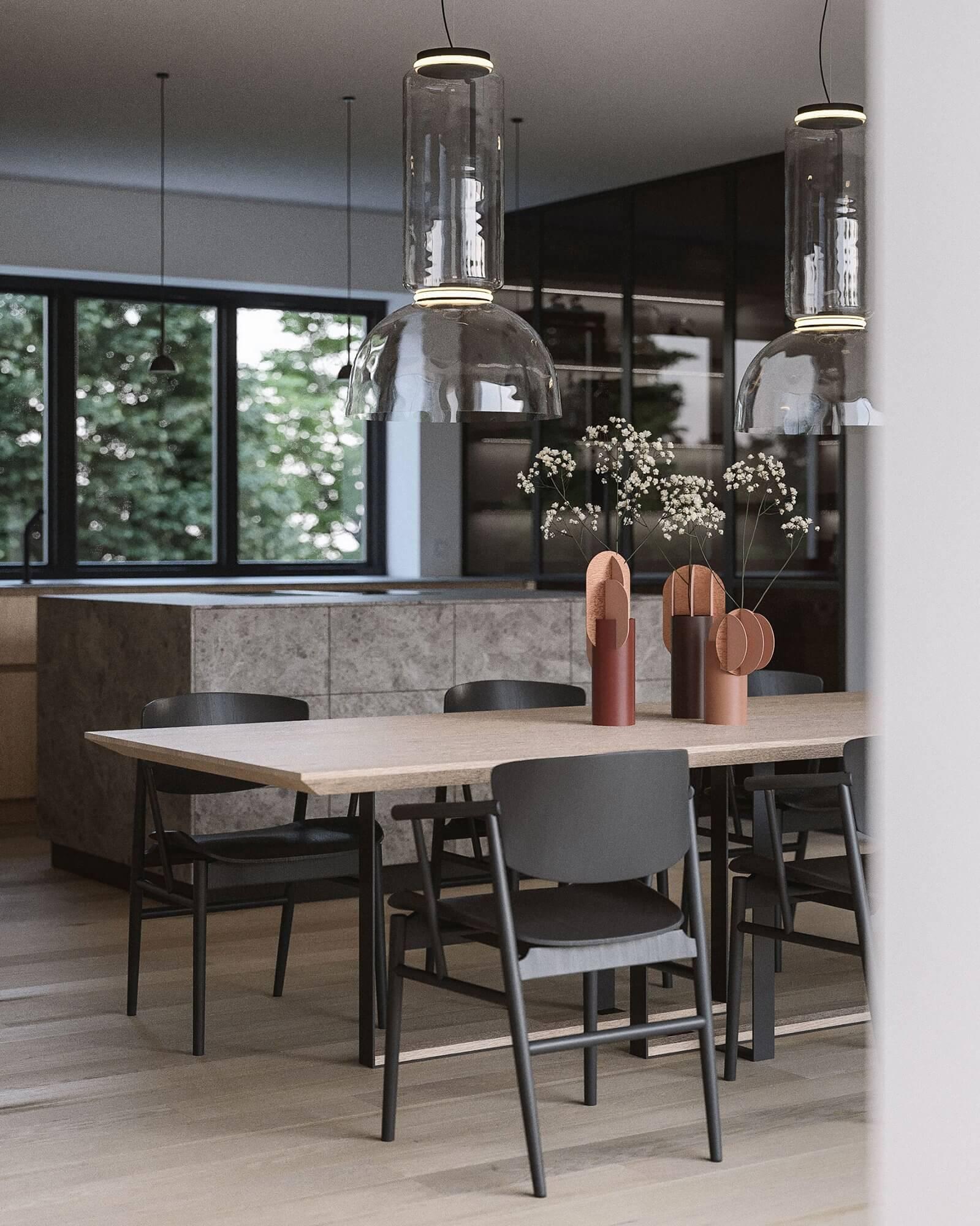 Suprematic Simplicity Apartment dining room kitchen - cgi visualization