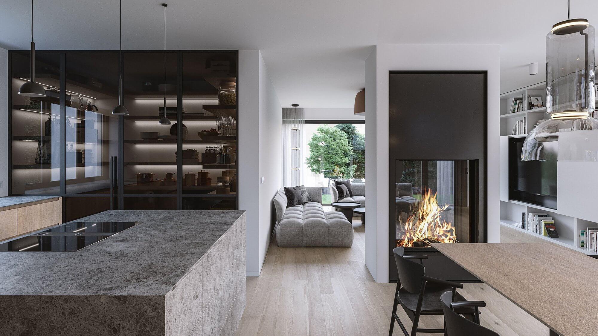 Suprematic Simplicity Apartment dining room living room classic - cgi visualization