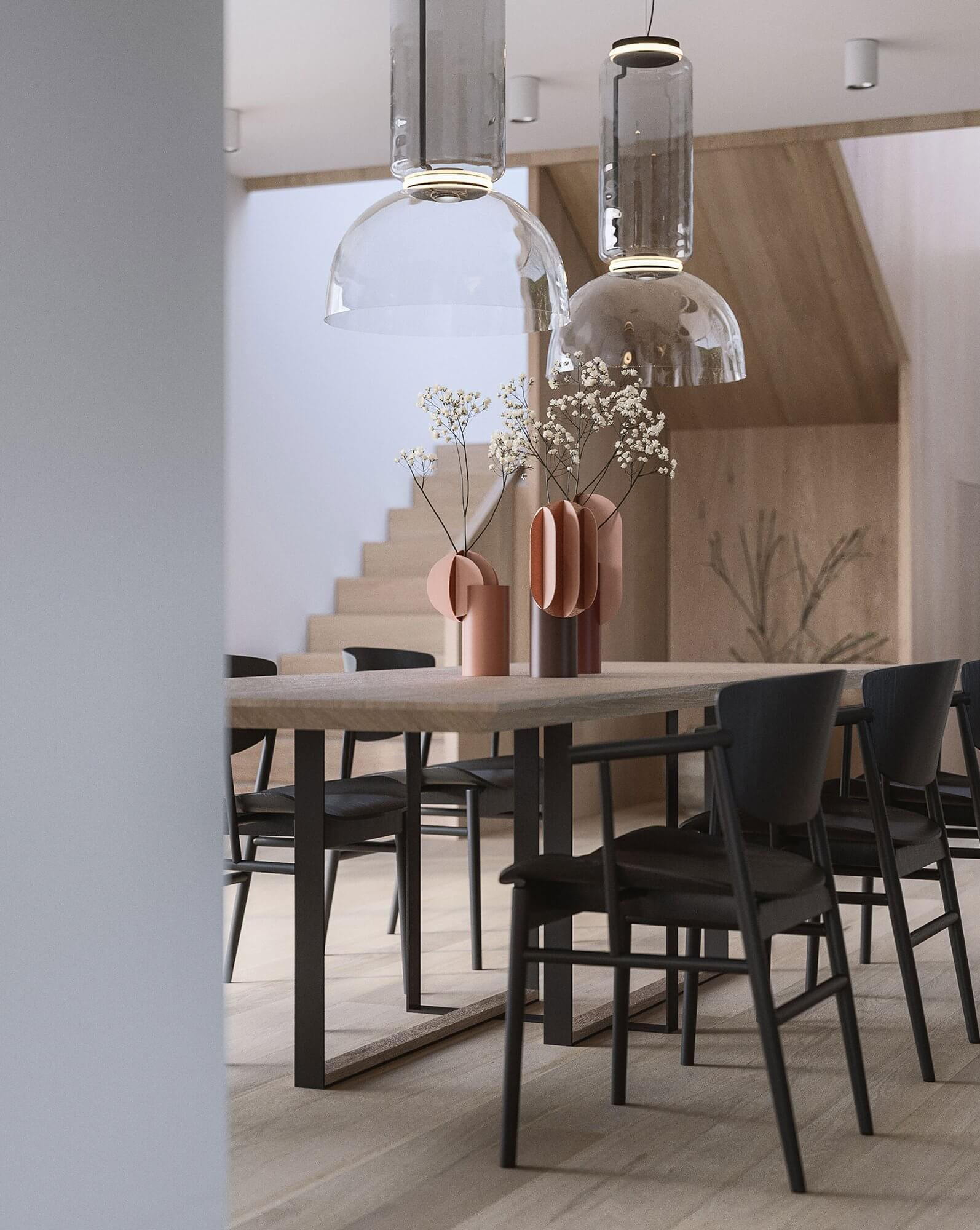 Suprematic Simplicity Apartment dining room table wood - cgi visualization