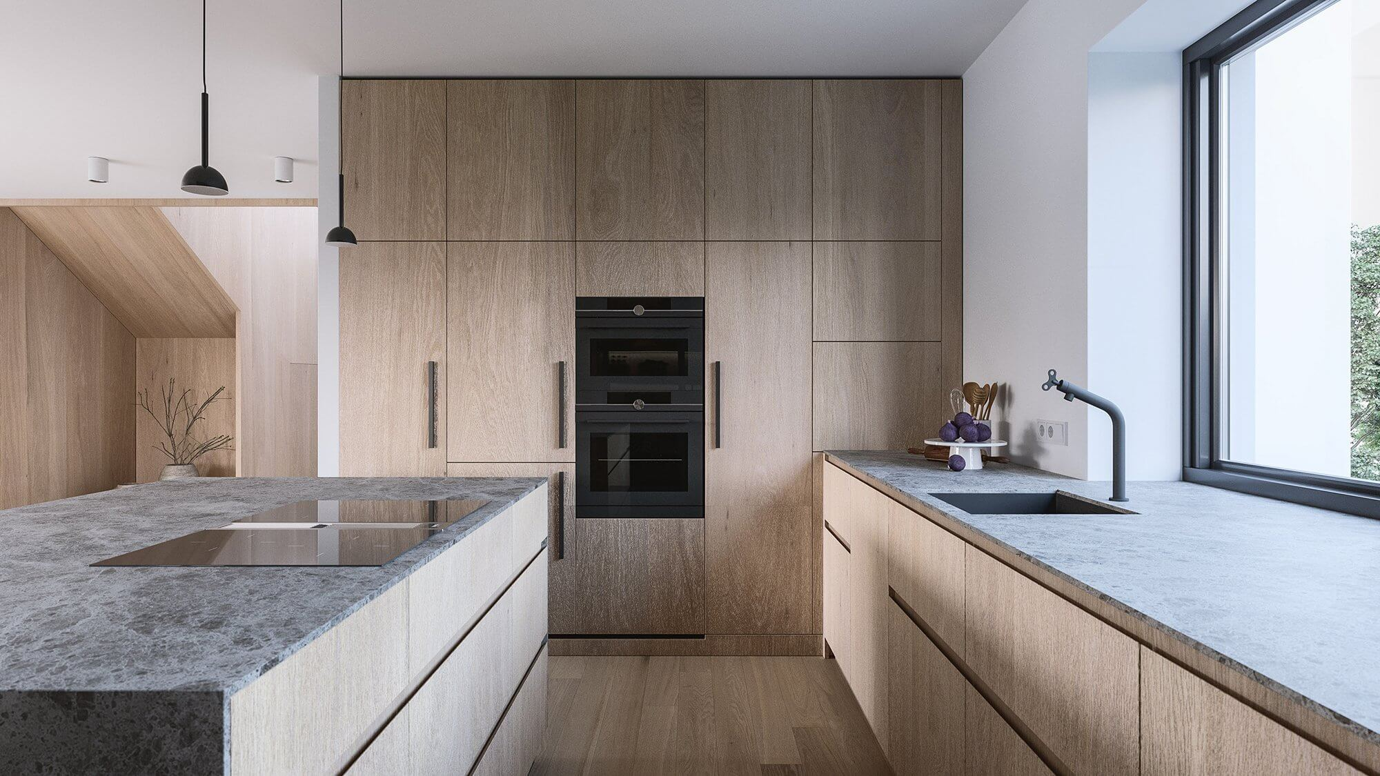 Suprematic Simplicity Apartment kitchen wood stone top - cgi visualization