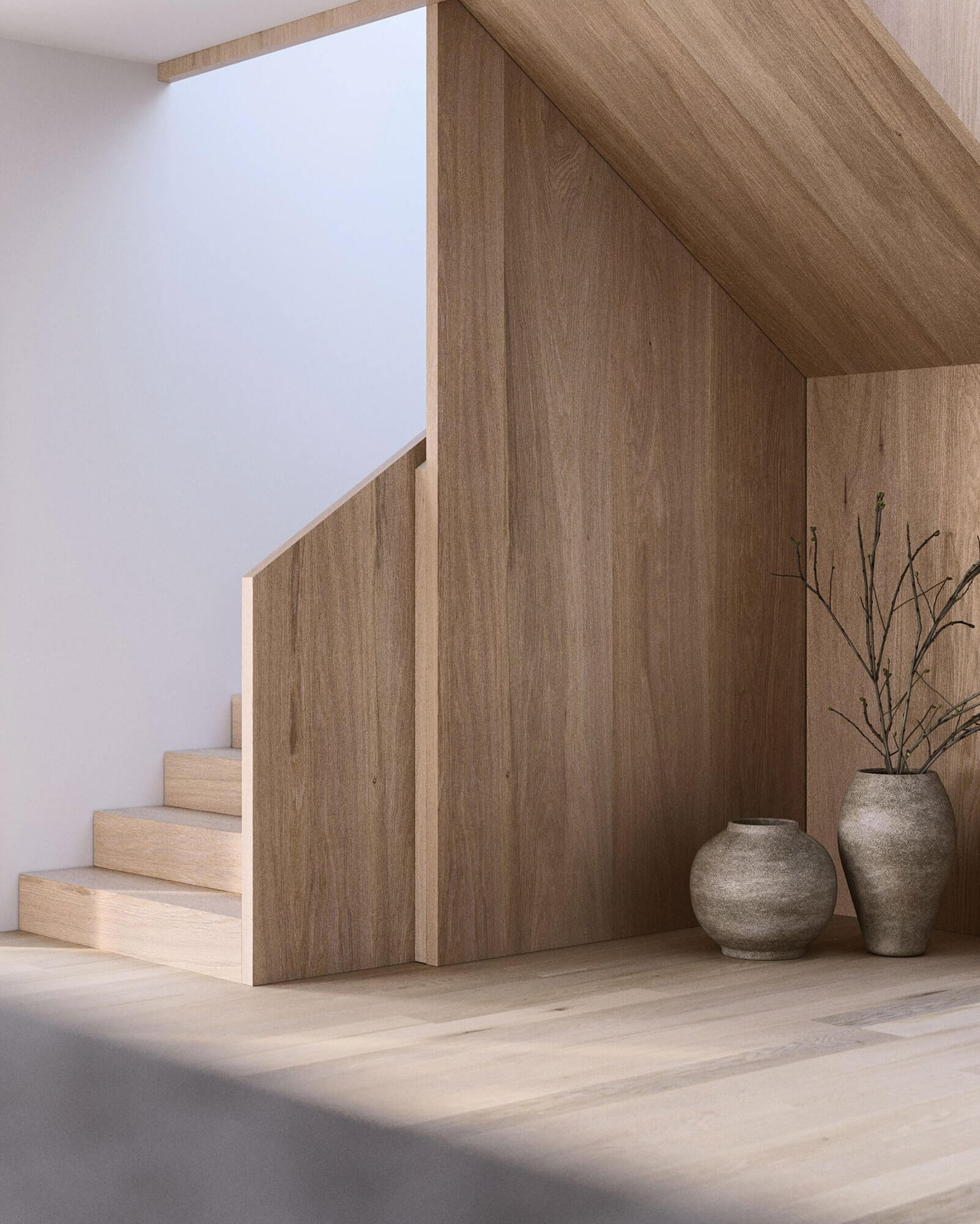 Suprematic Simplicity Apartment living room staircase wood - cgi visualization