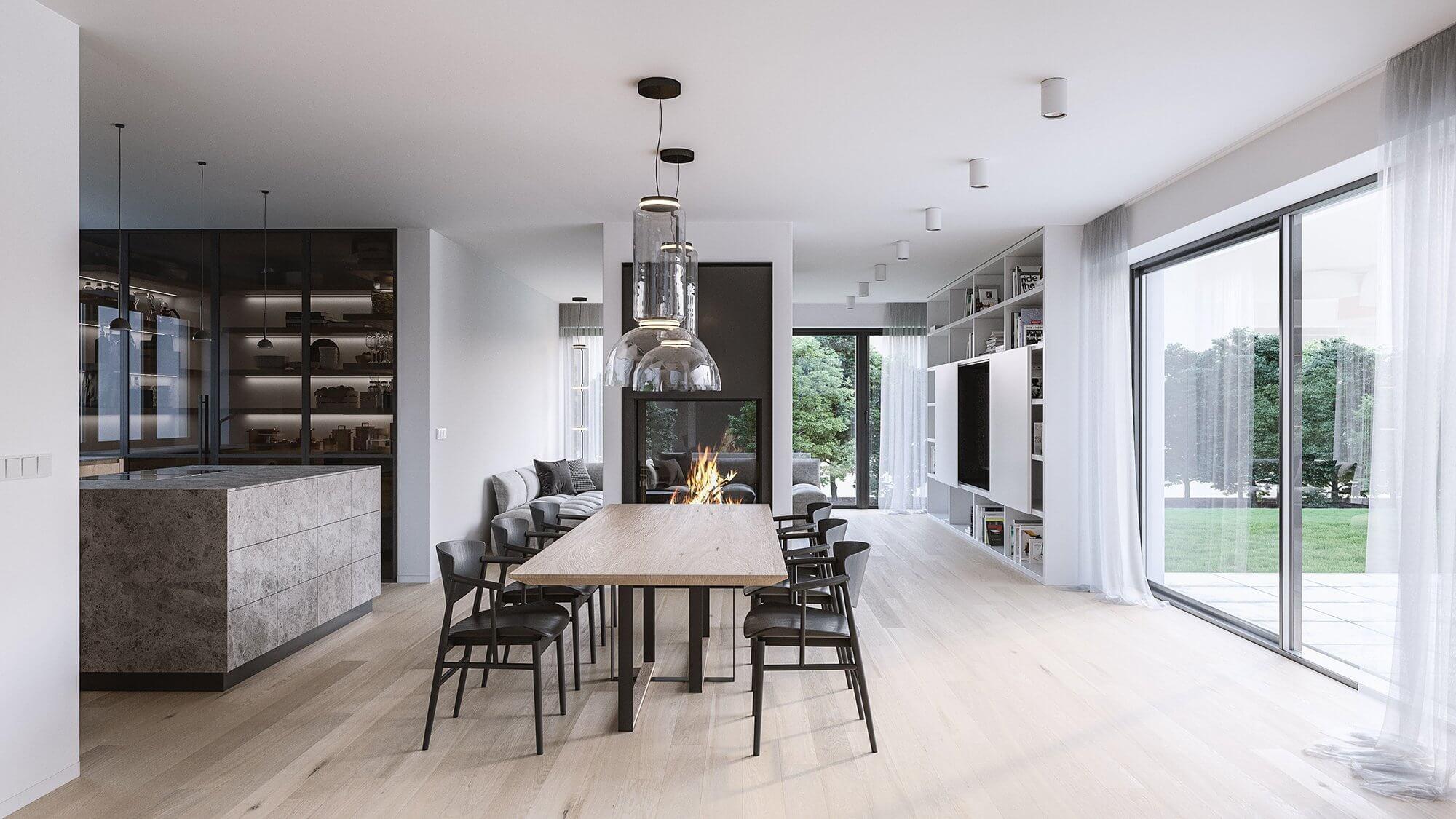 Suprematic Simplicity Apartment living room stone kitchen - cgi visualization