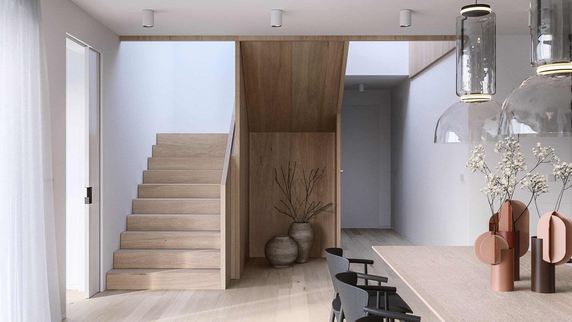 Suprematic Simplicity Apartment staircase wood - cgi visualization