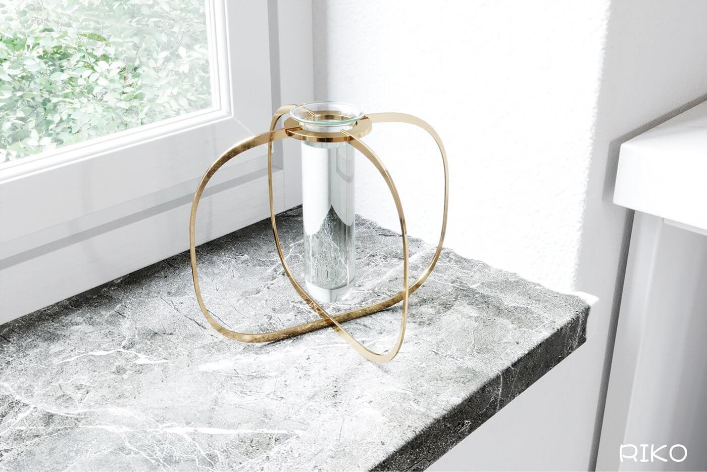White kitchen design accessoires candle light - cgi visualization