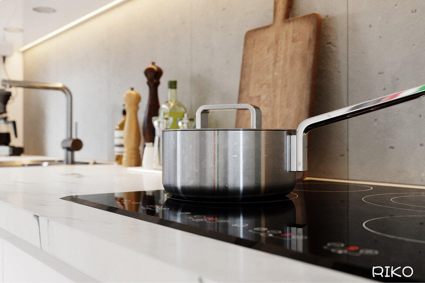 White kitchen design accessoires cooking pot - cgi visualization
