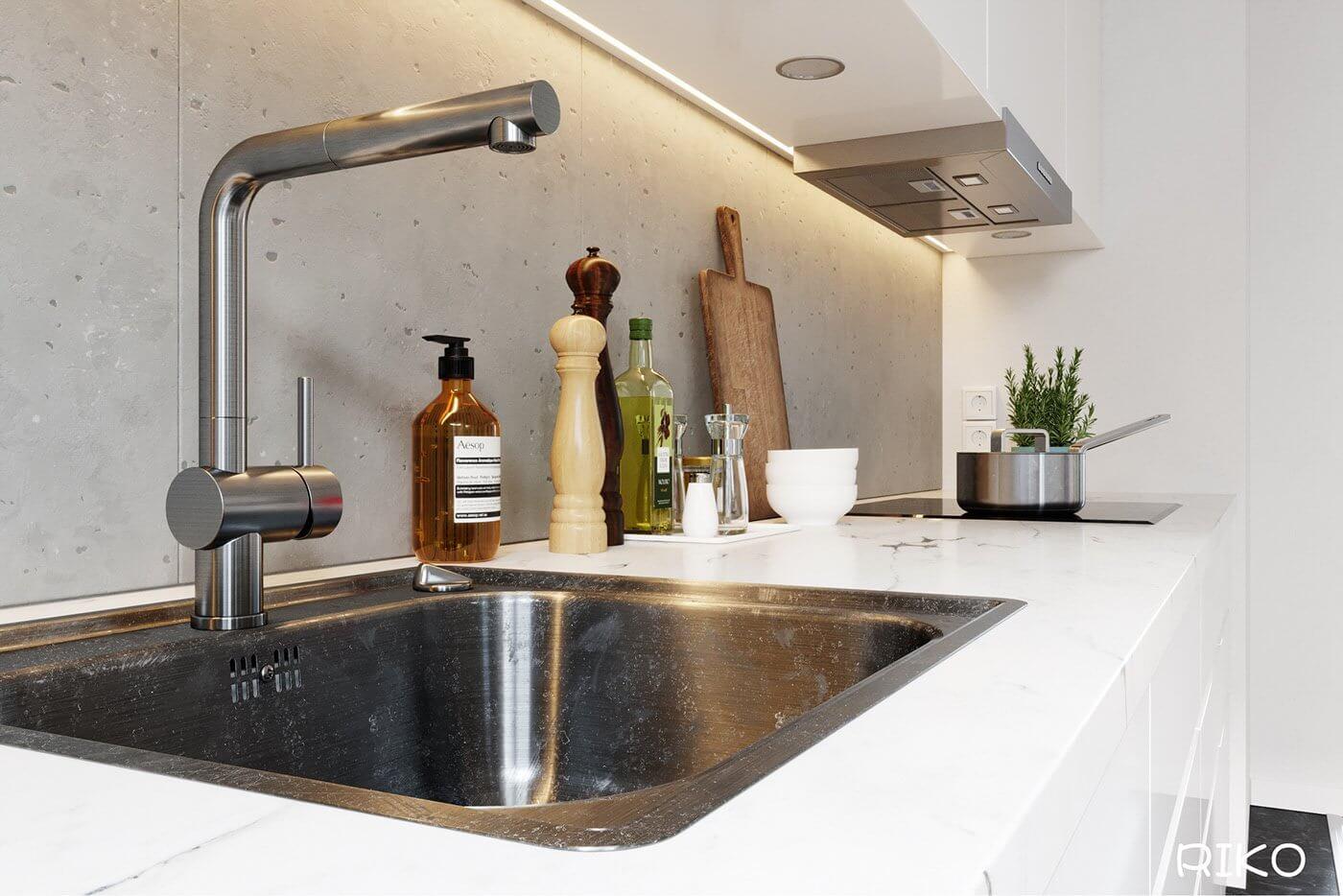White kitchen design accessoires wash basin - cgi visualization