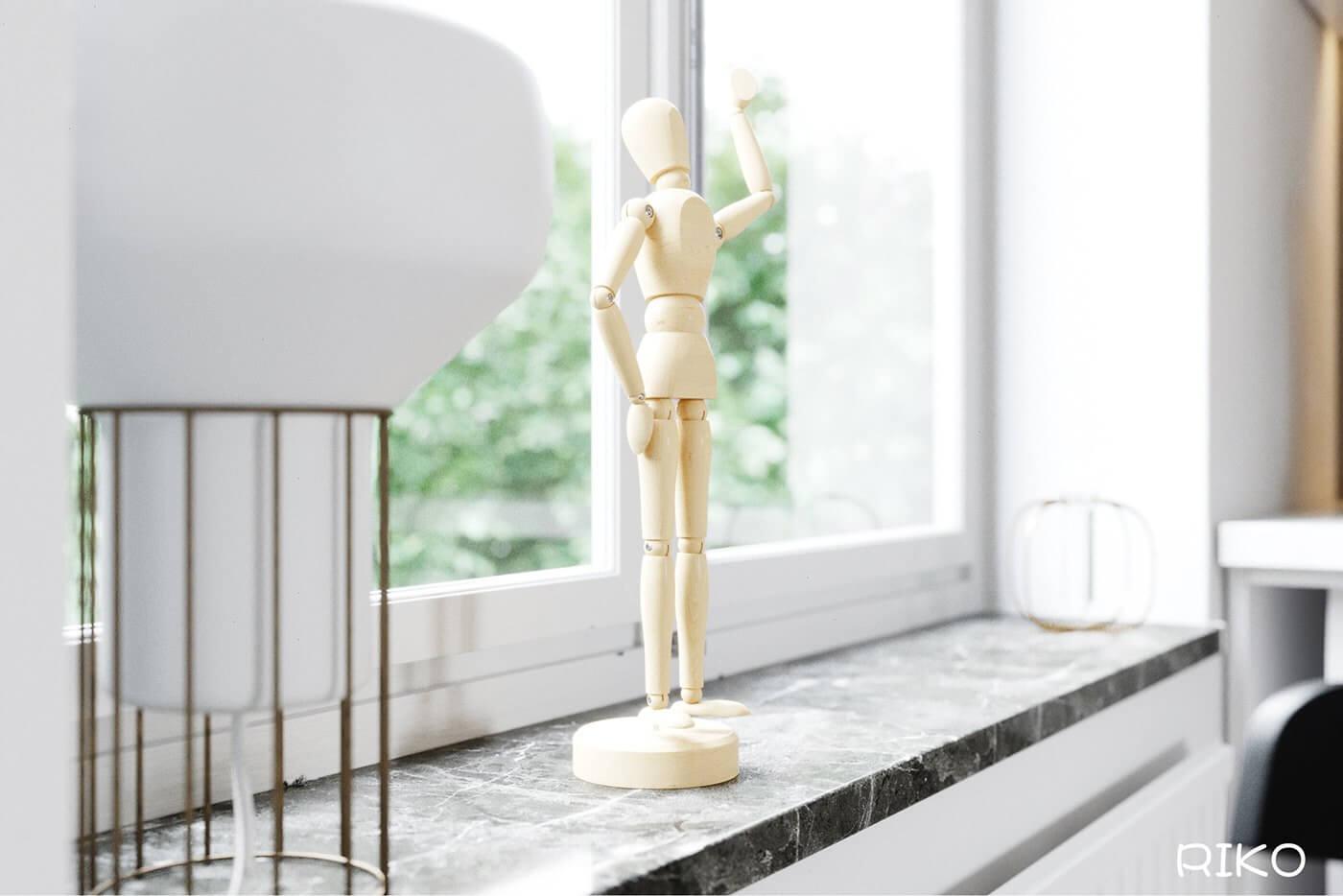 White kitchen design accessoires wood sculpture - cgi visualization