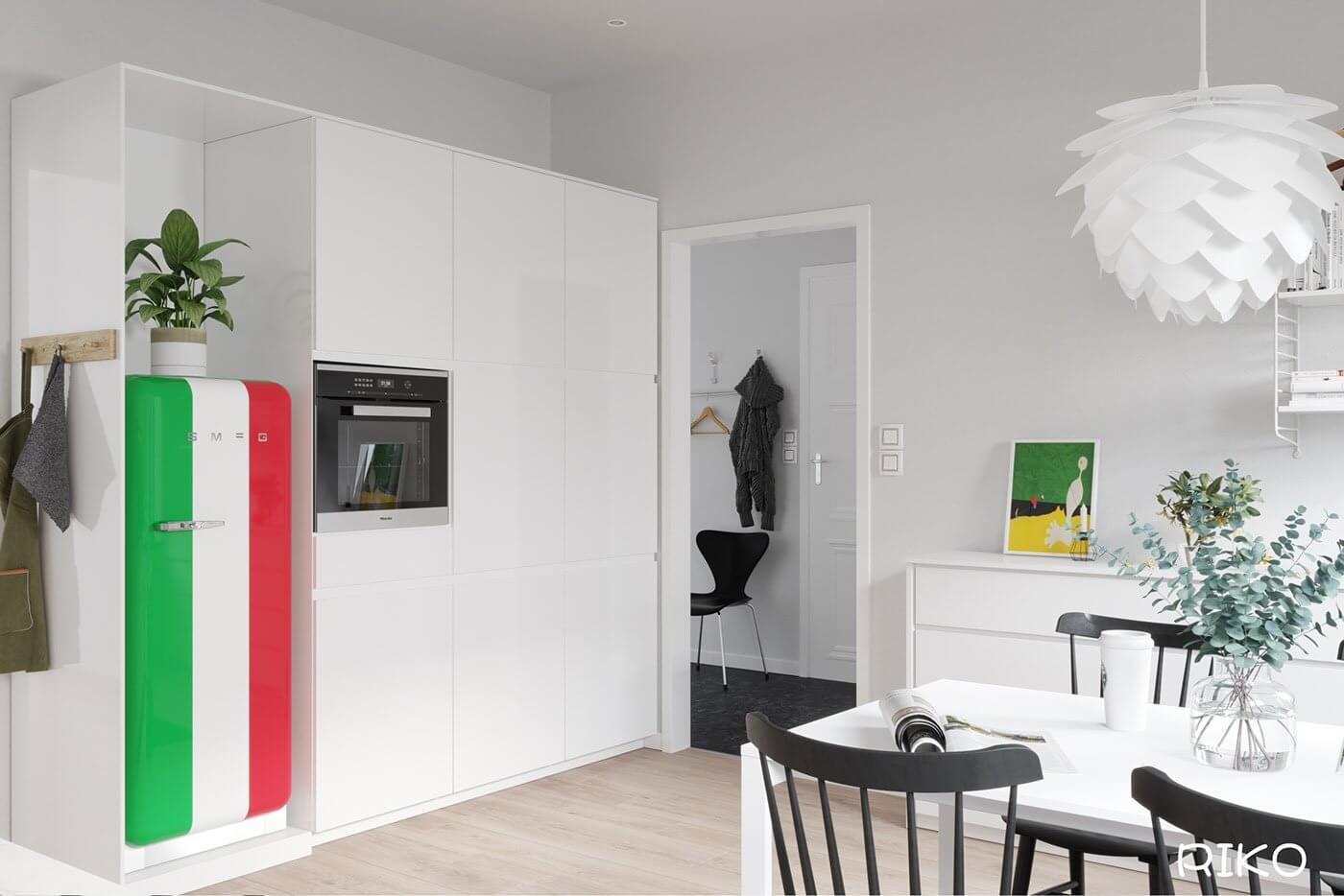 White kitchen design build in furniture fridge - cgi visualization