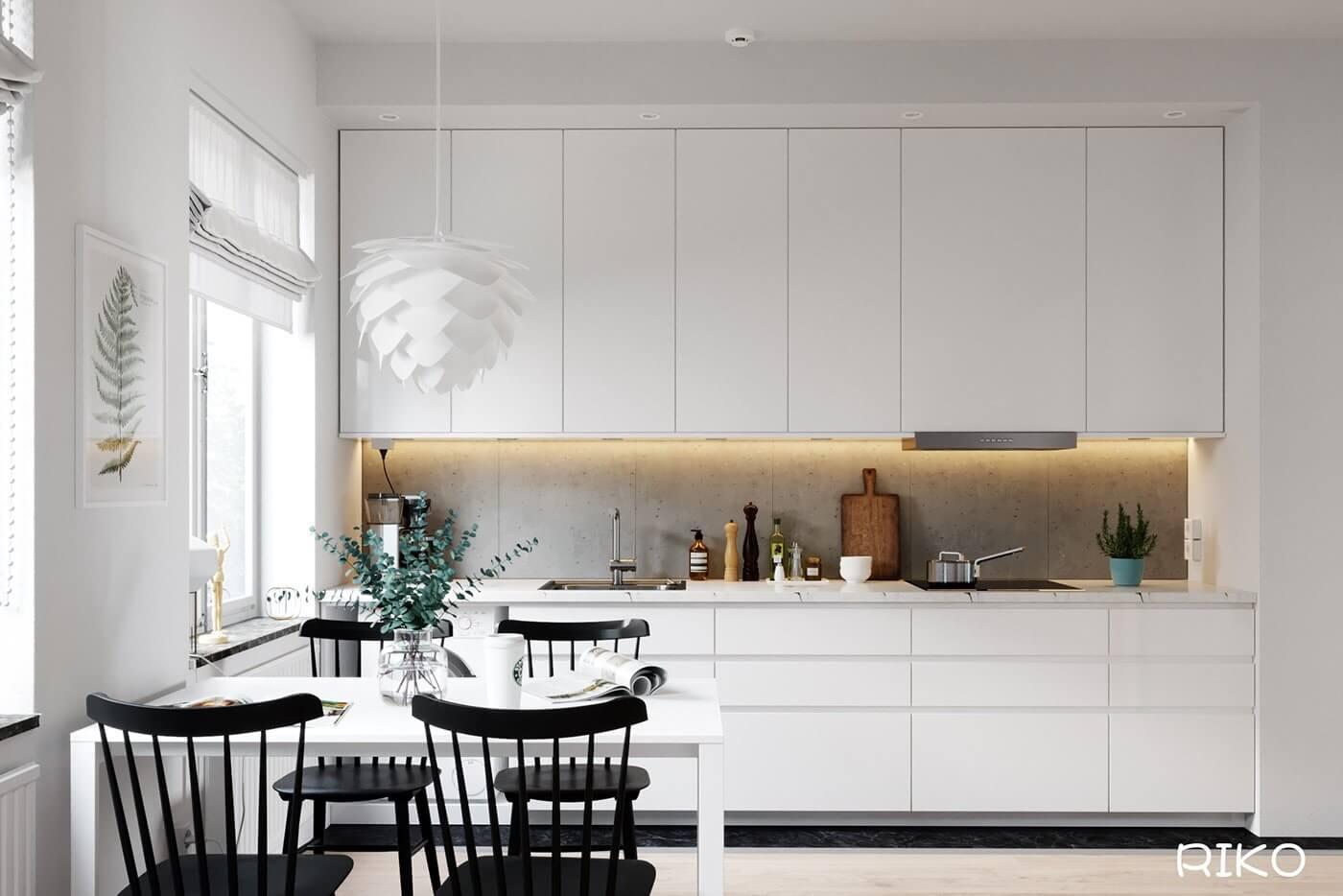 White kitchen design dining table - cgi visualization
