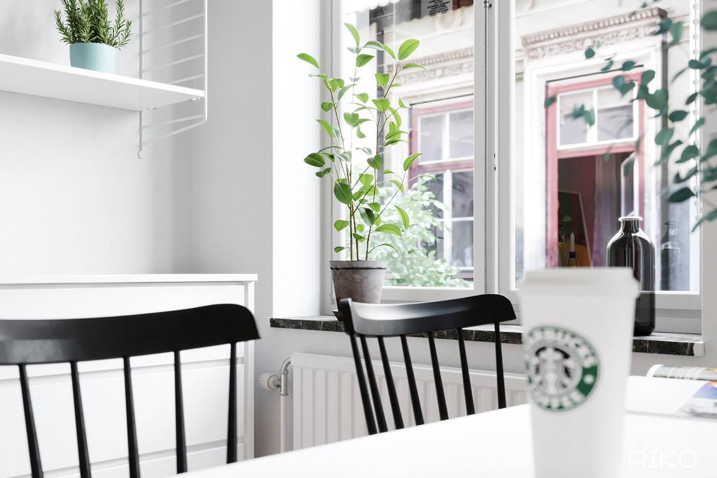 White kitchen design dining table plants - cgi visualization