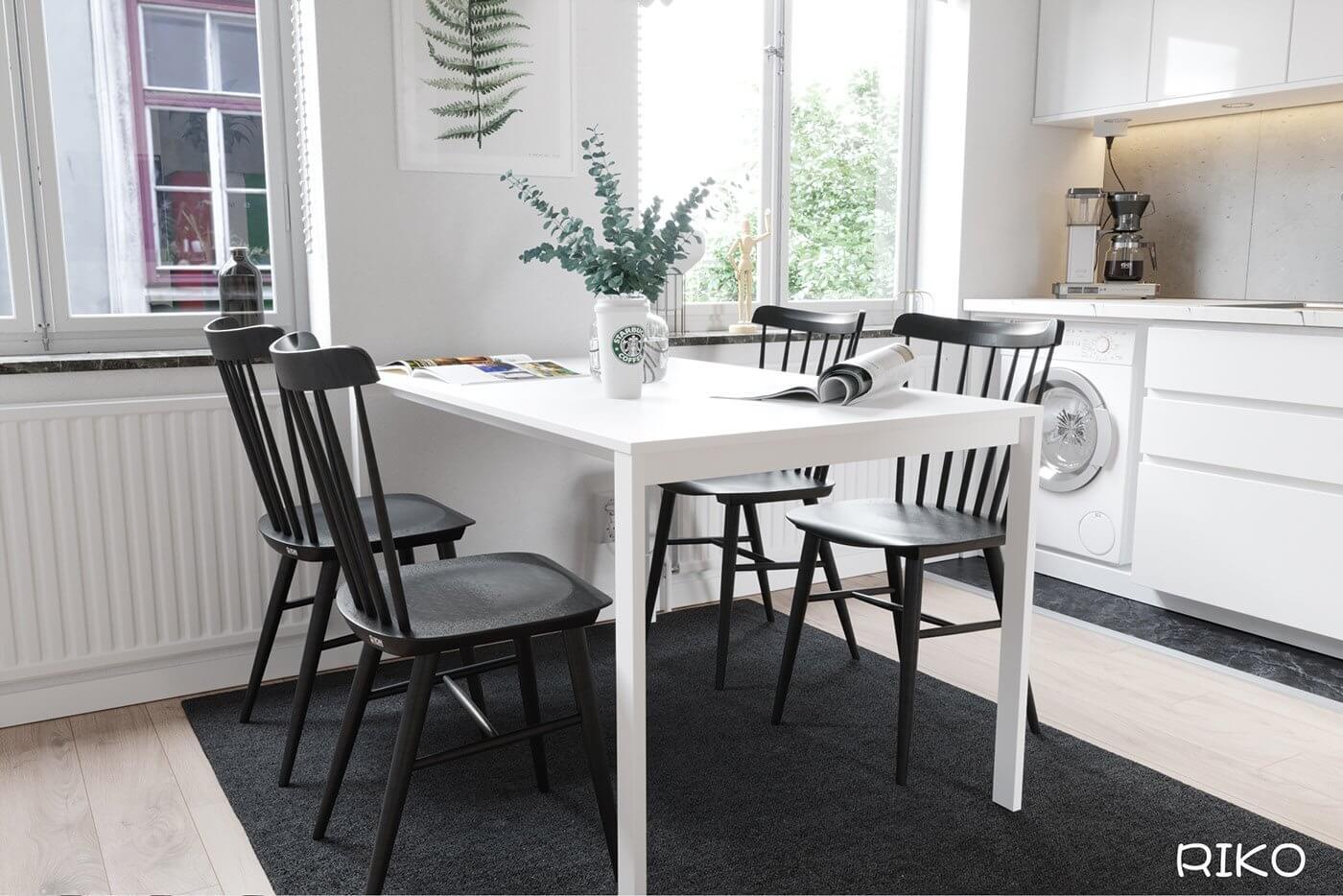 White kitchen design dining table white 2 - cgi visualization