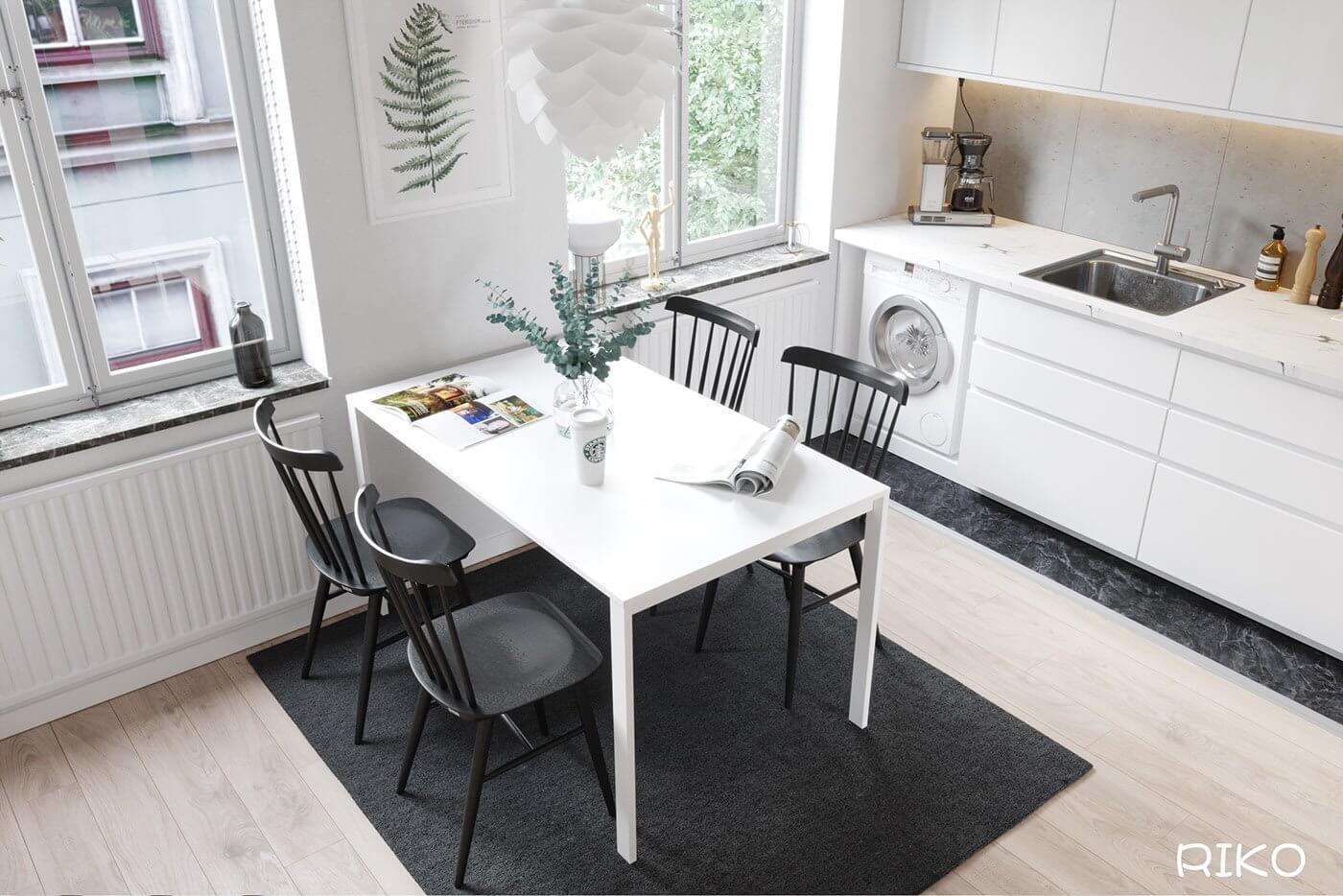 White kitchen design dining table white 3 - cgi visualization