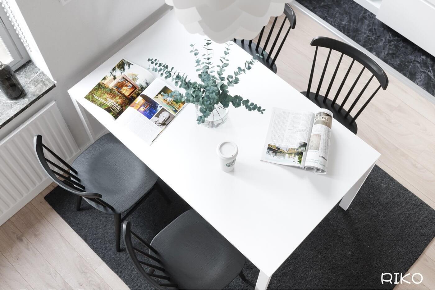 White kitchen design dining table white 4 - cgi visualization