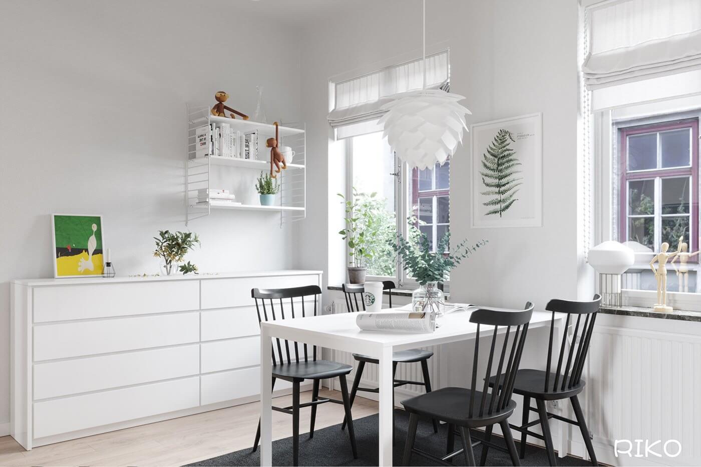 White kitchen design dining table white - cgi visualization