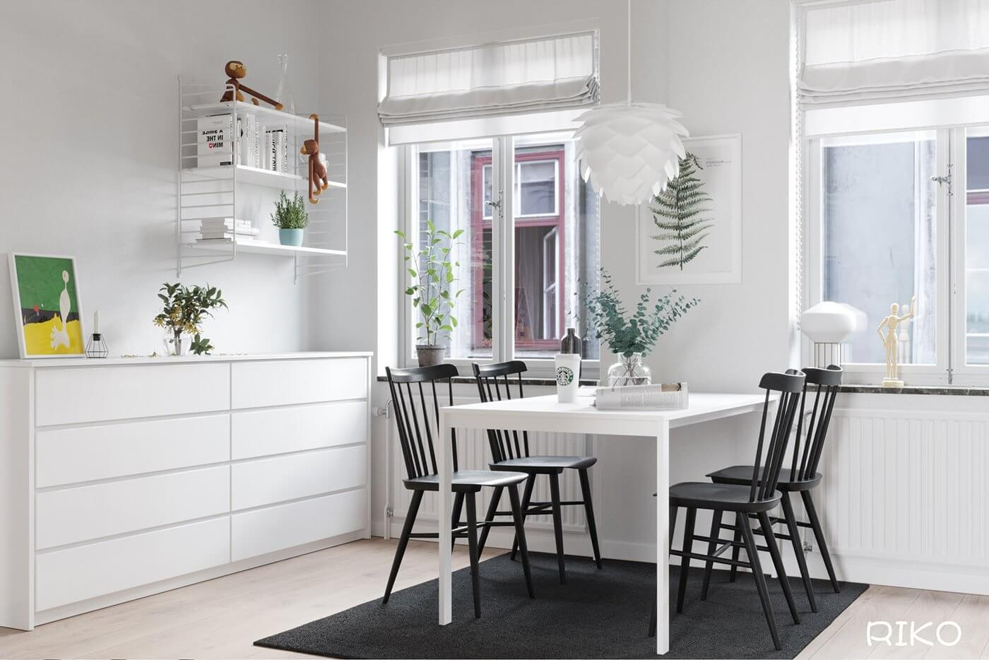 White kitchen design dining table white chair black - cgi visualization