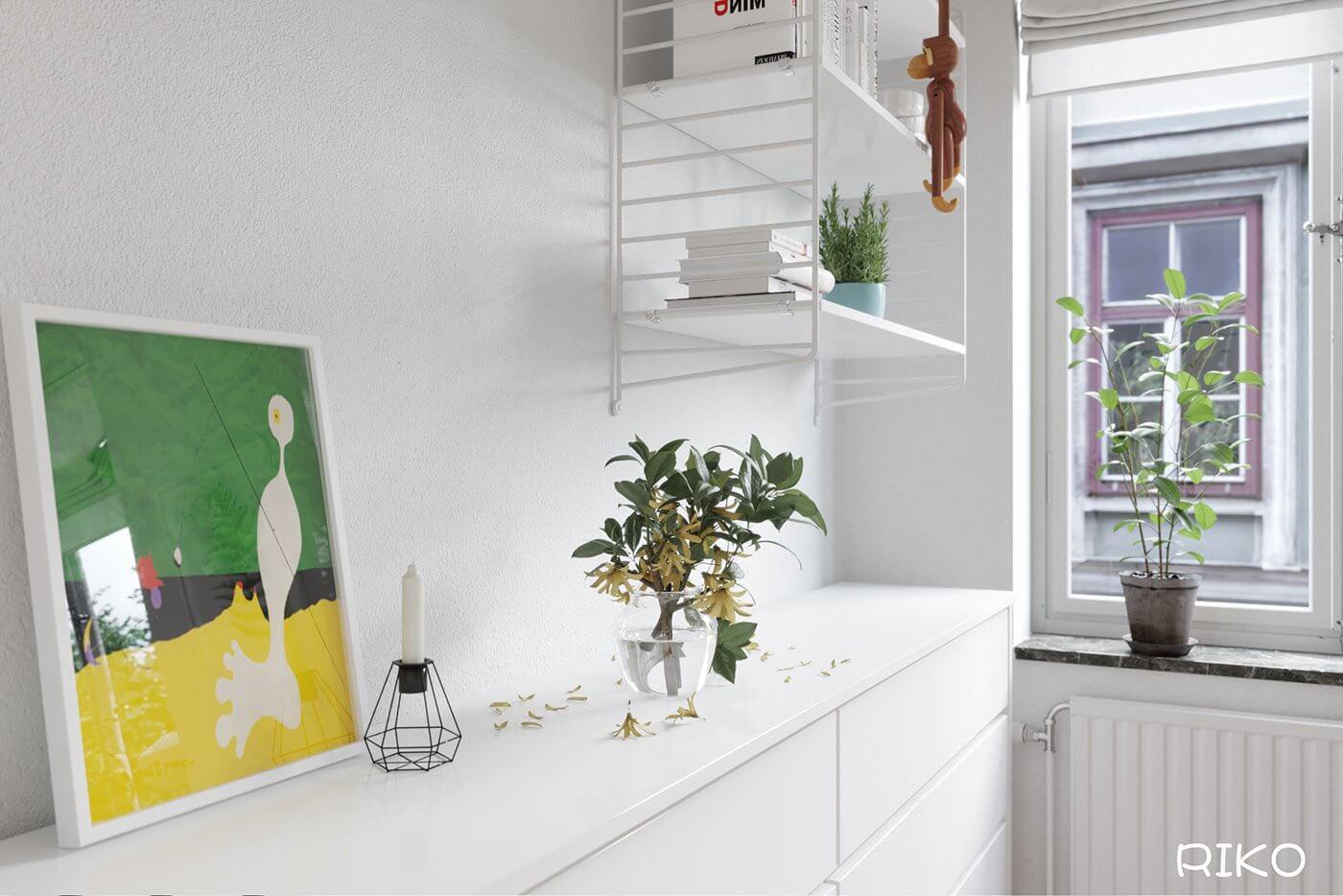 White kitchen design shelfs - cgi visualization