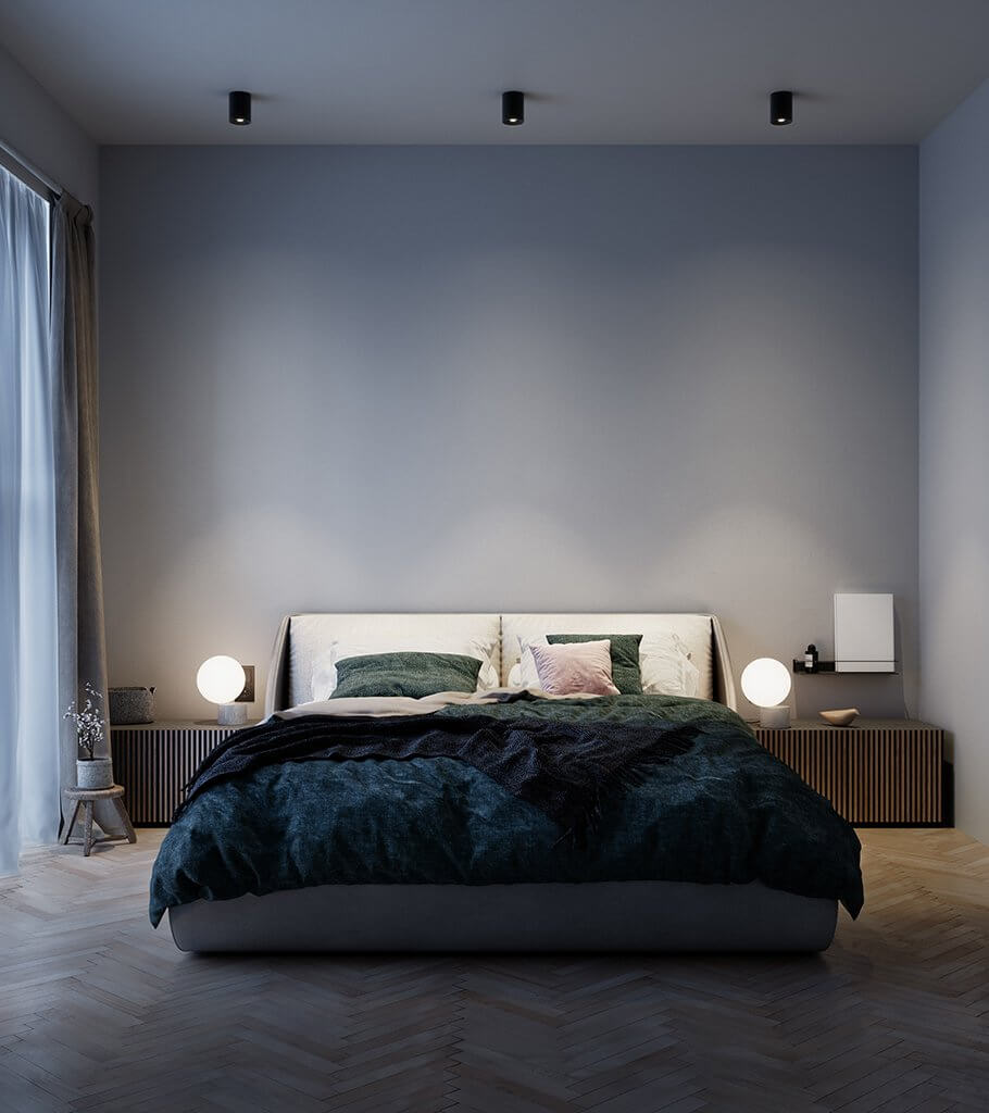 Stylish loft design cozy bedroom night - cgi visualization