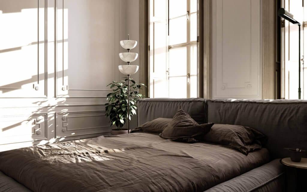 Elegant kitchen & Living design bedroom cozy - cgi visualization
